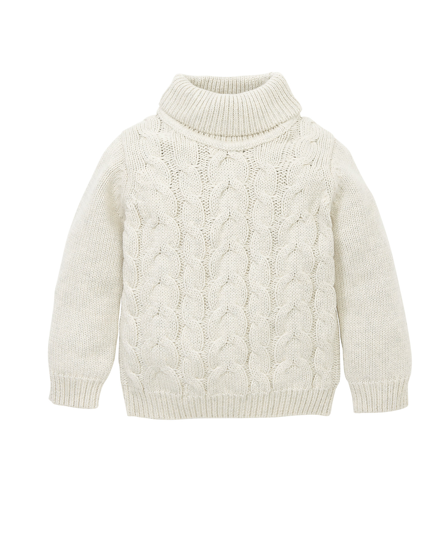 Mothercare | Girls Full Sleeves Roll Neck Sweater Chunky Knit - Cream