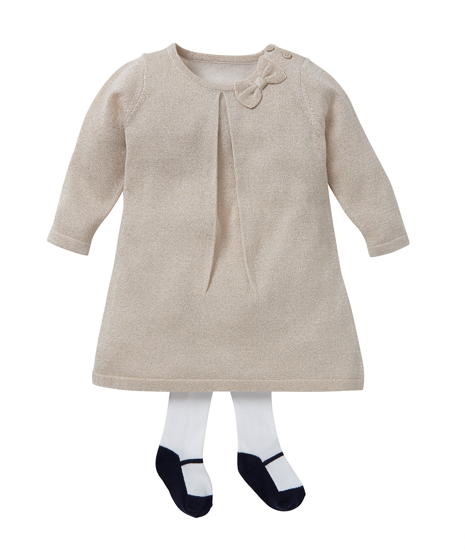 Mothercare | Girls Full Sleeves Knitted Glitter Dress And Tights Set Bow Detail - Beige