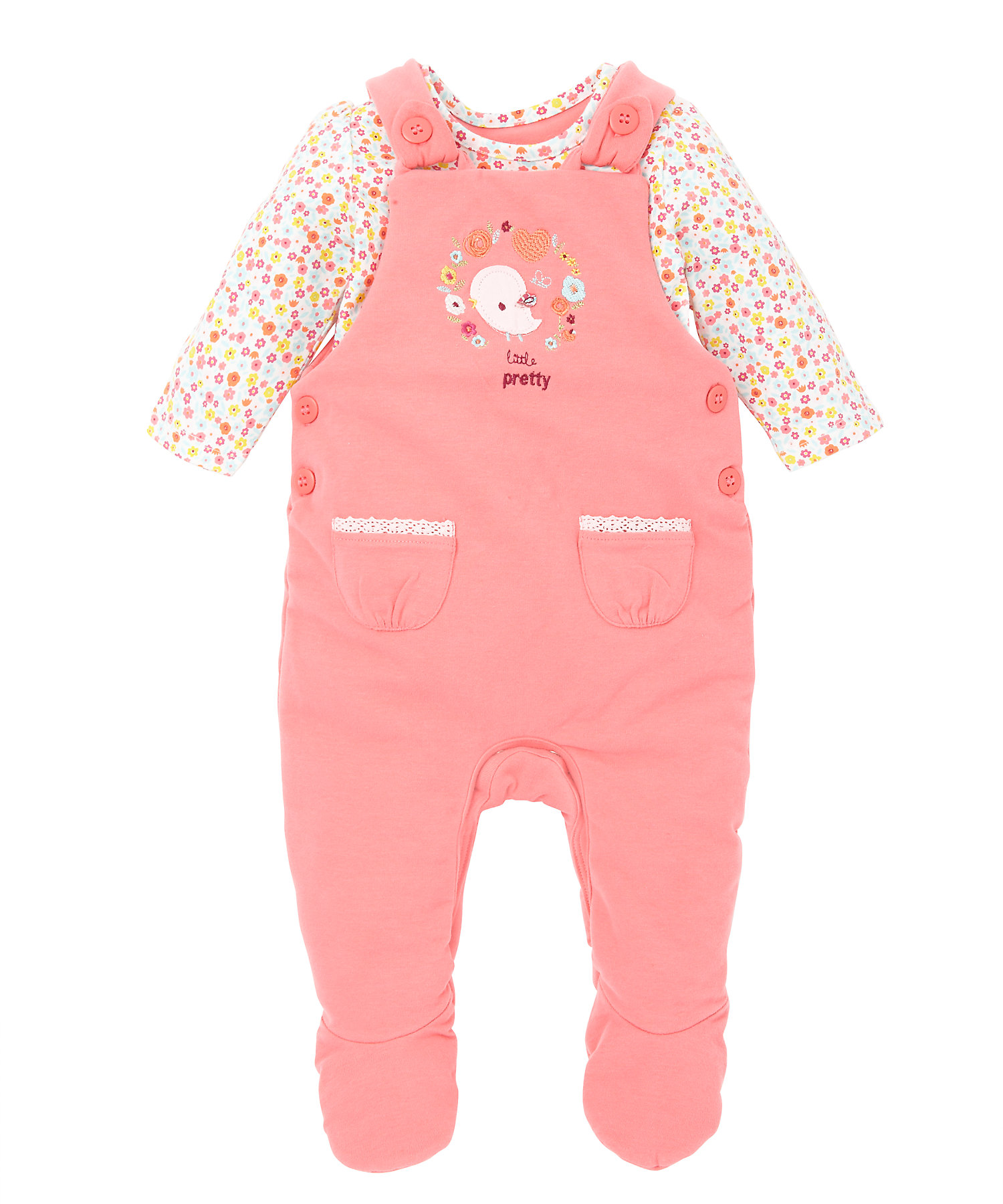 Mothercare | Girls Full Sleeves Dungarees And Bodysuit Set Floral Embroidery - Pink
