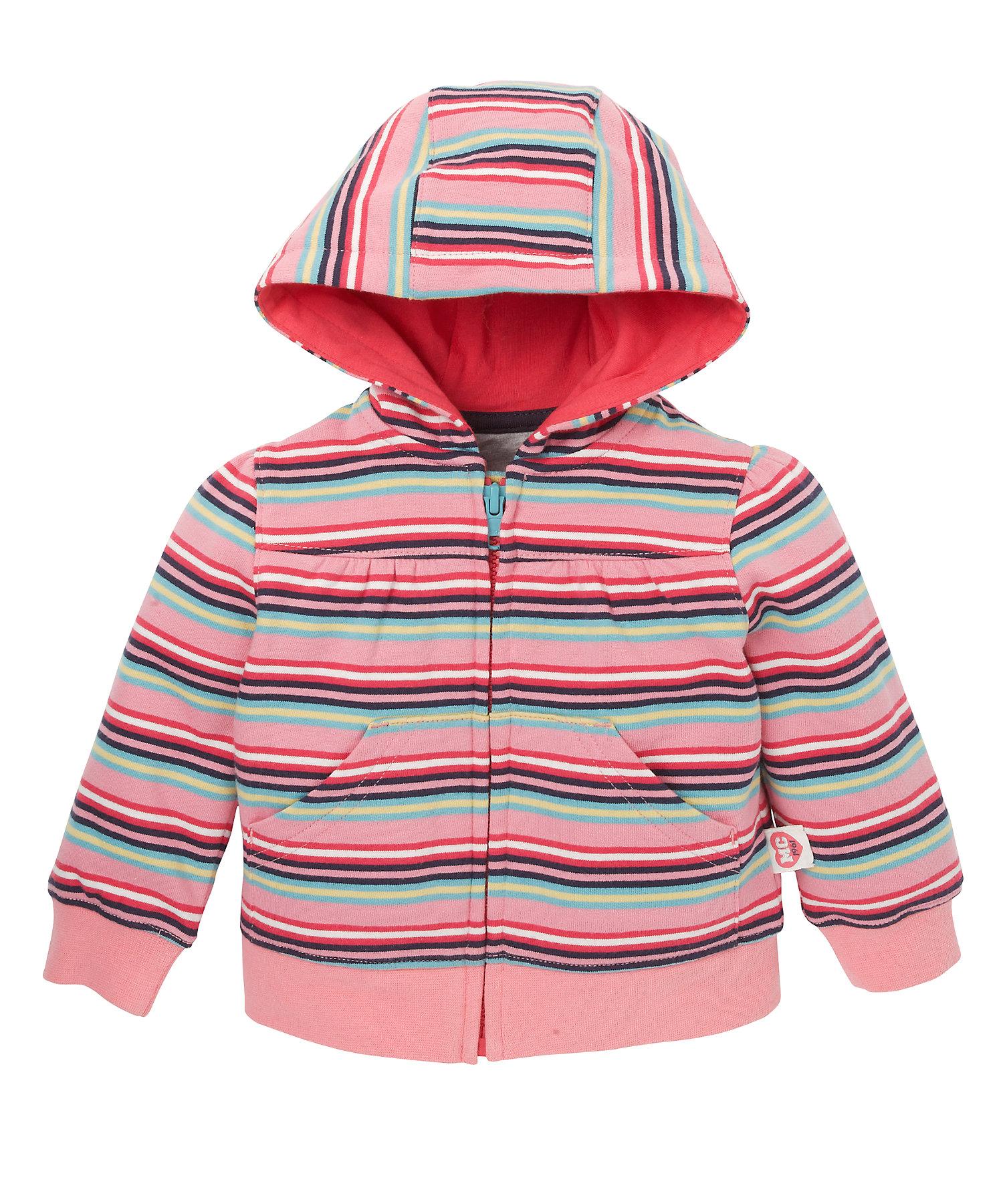 Mothercare | Girls Full Sleeves Hooded Sweatshirt Striped - Pink