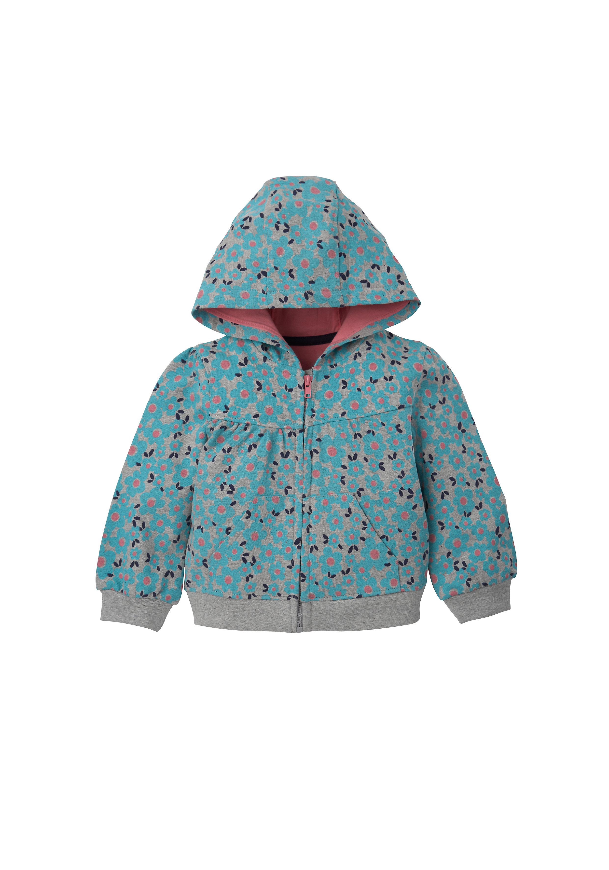 Mothercare | Girls Full Sleeves Hooded Sweatshirt Floral Print - Grey
