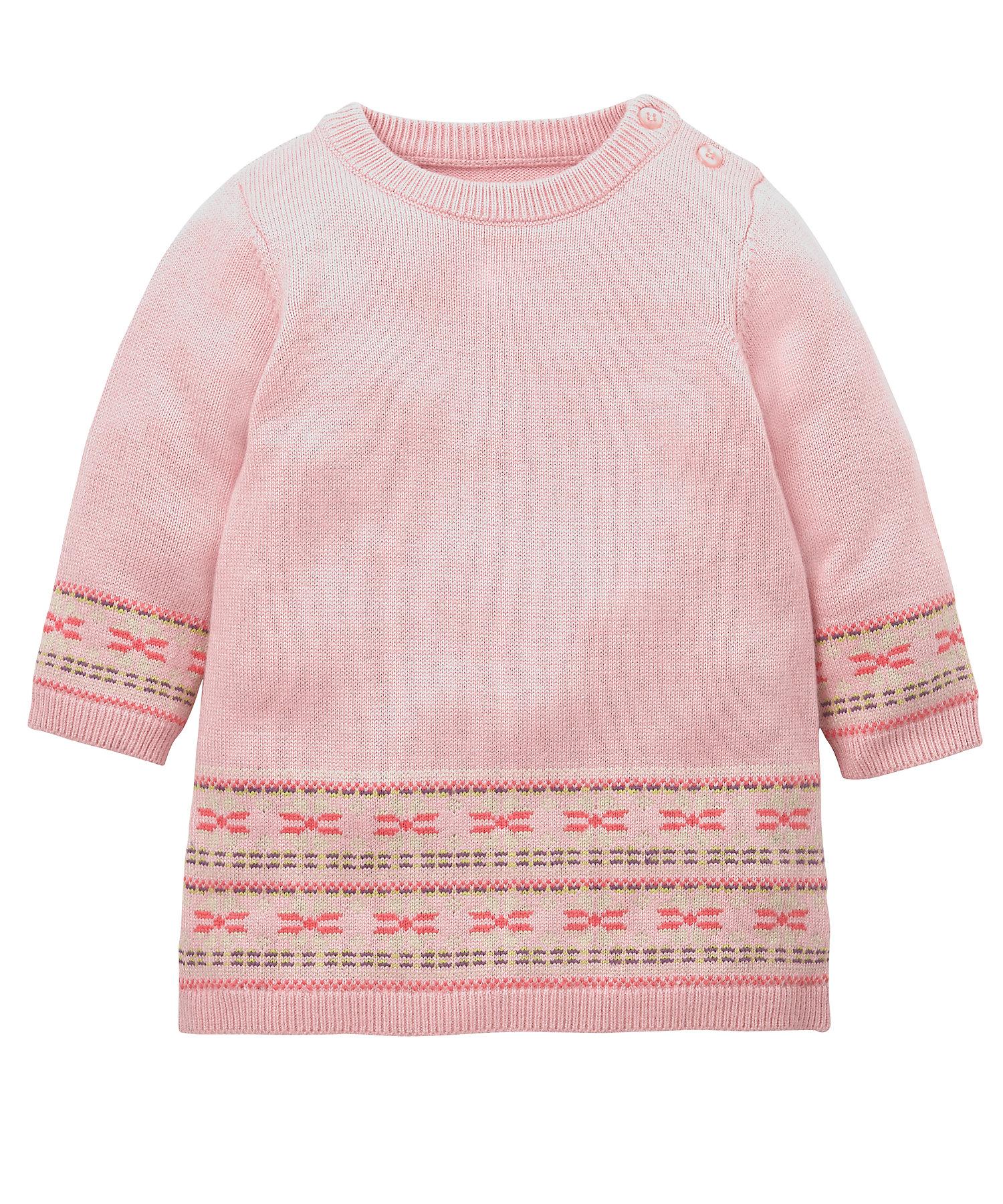 Mothercare | Girls Full Sleeves Knitted Dress Fairisle Design - Pink