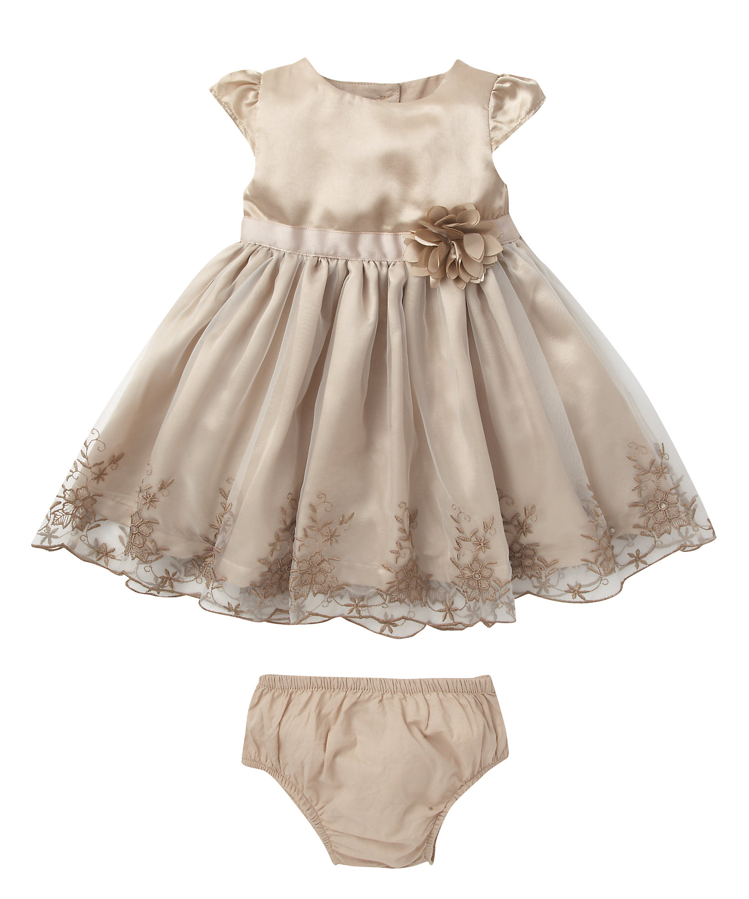 Mothercare | Girls Half Sleeves Party Dress 3D Flower Details - Brown