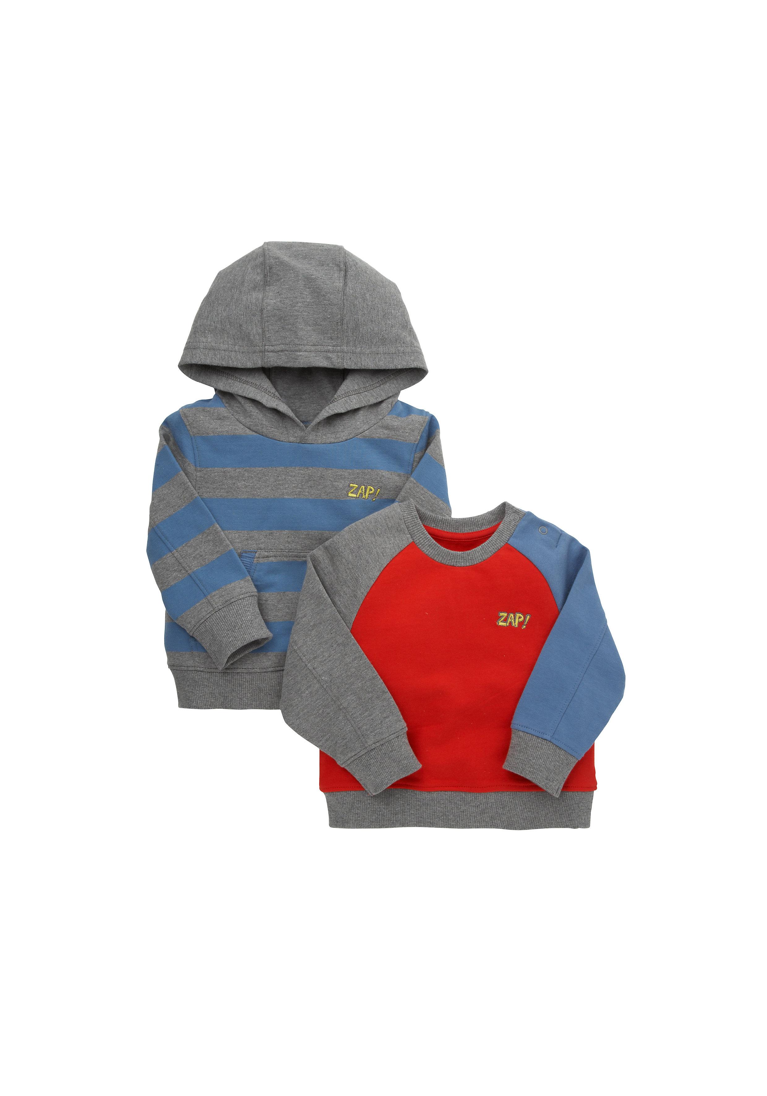 Mothercare | Boys Full Sleeves Sweatshirt Hooded - Pack Of 2 - Grey