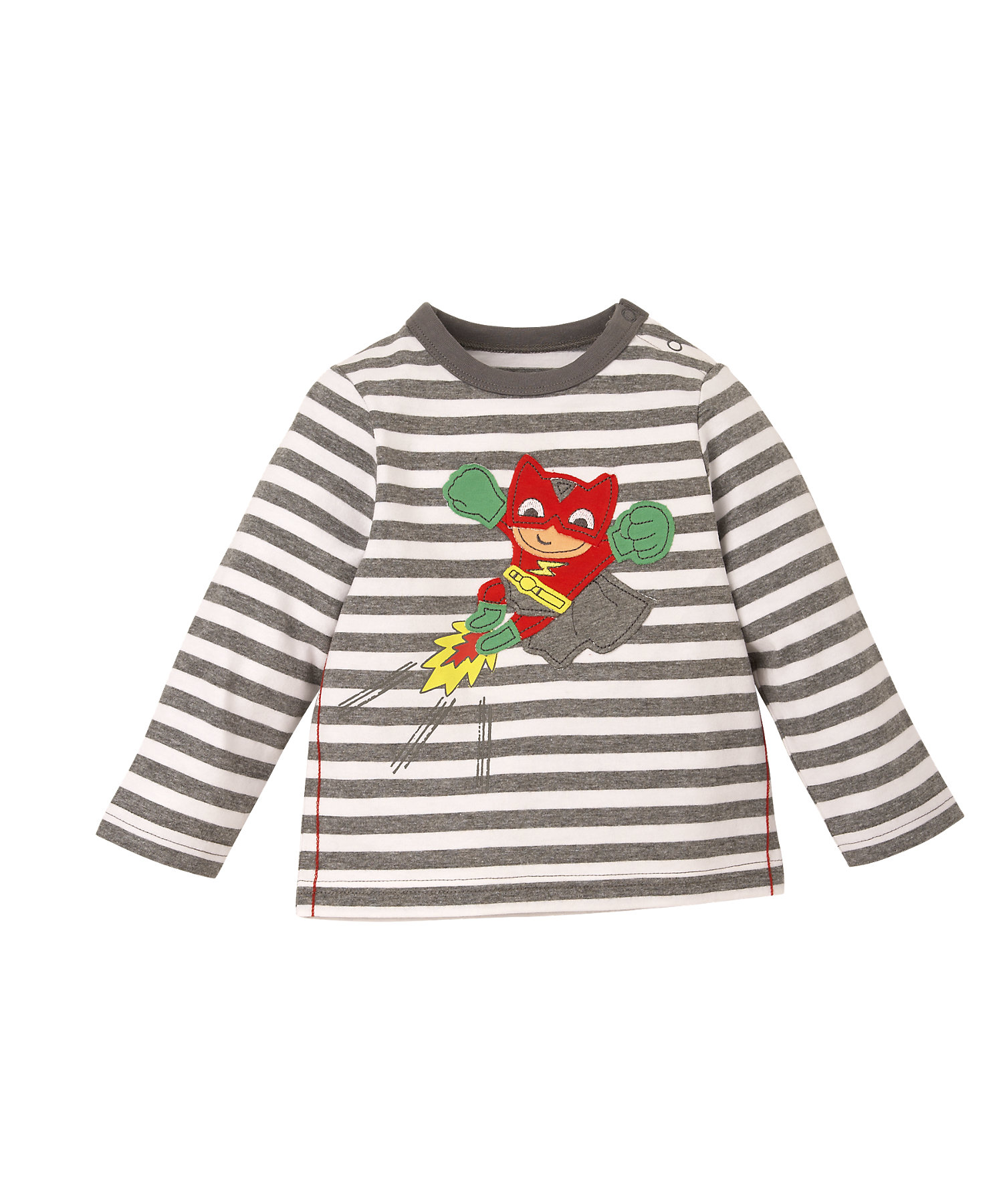 Mothercare | Boys Full Sleeves T-Shirt Super Hero Patchwork - Grey