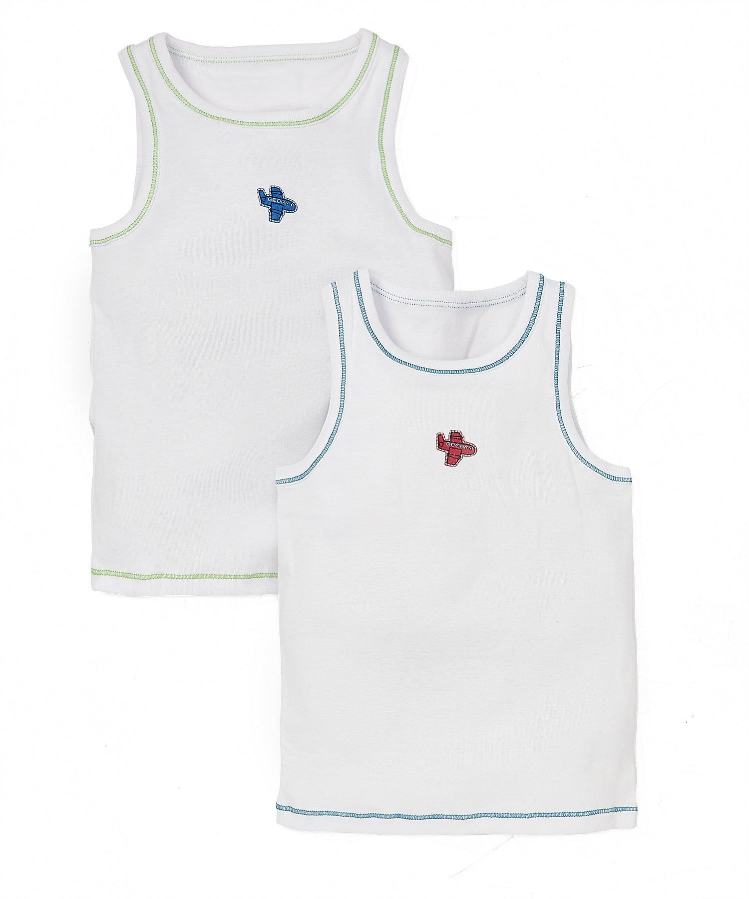 Mothercare   Boys Sleeveless Vest Aeroplane Print - Pack Of 2 - White