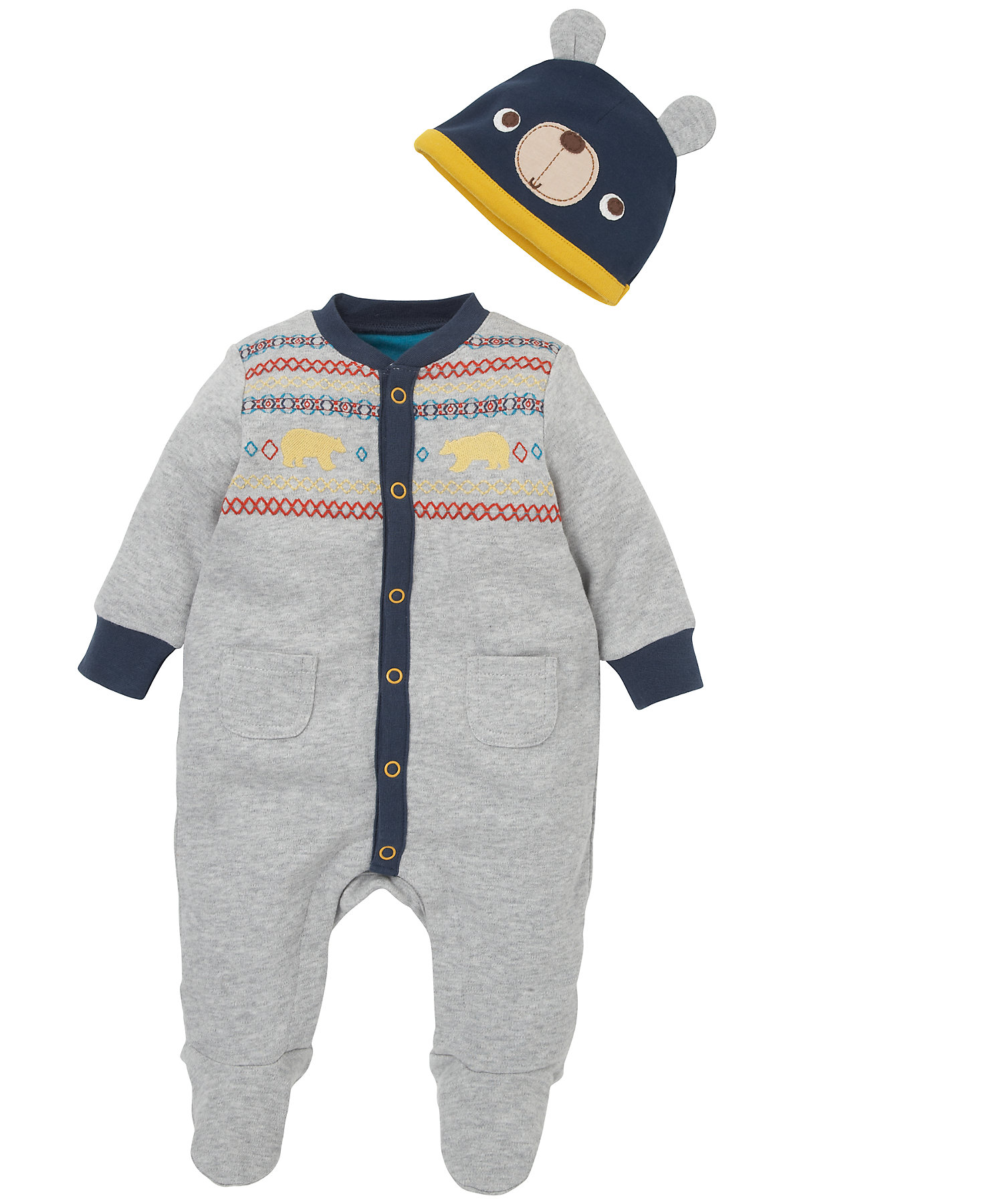Mothercare | Boys Full Sleeves Romper With Hat Embroidered - Grey
