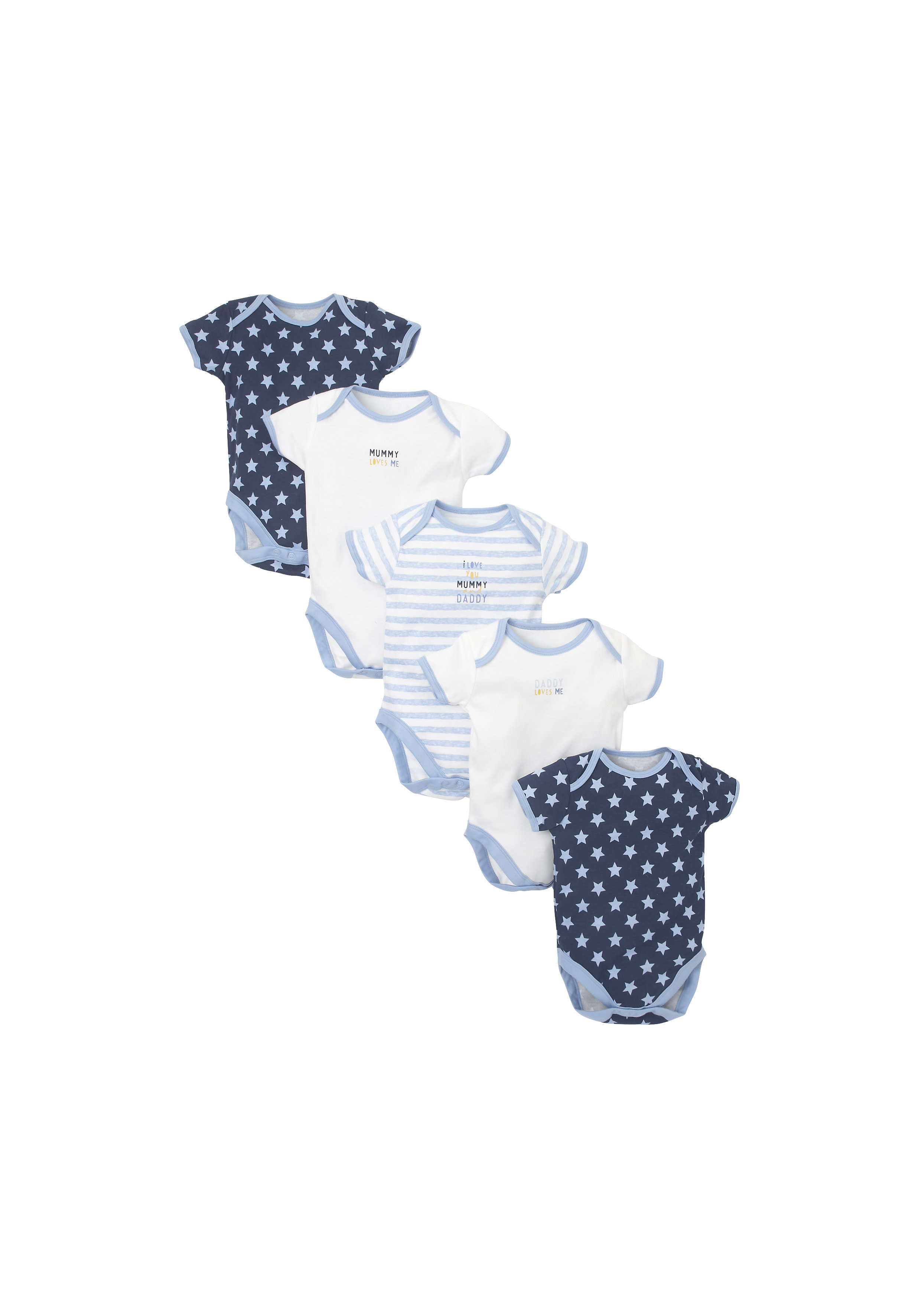 Mothercare   Boys Half Sleeves Bodysuit Stripe And Star Print - Pack Of 5 - Blue