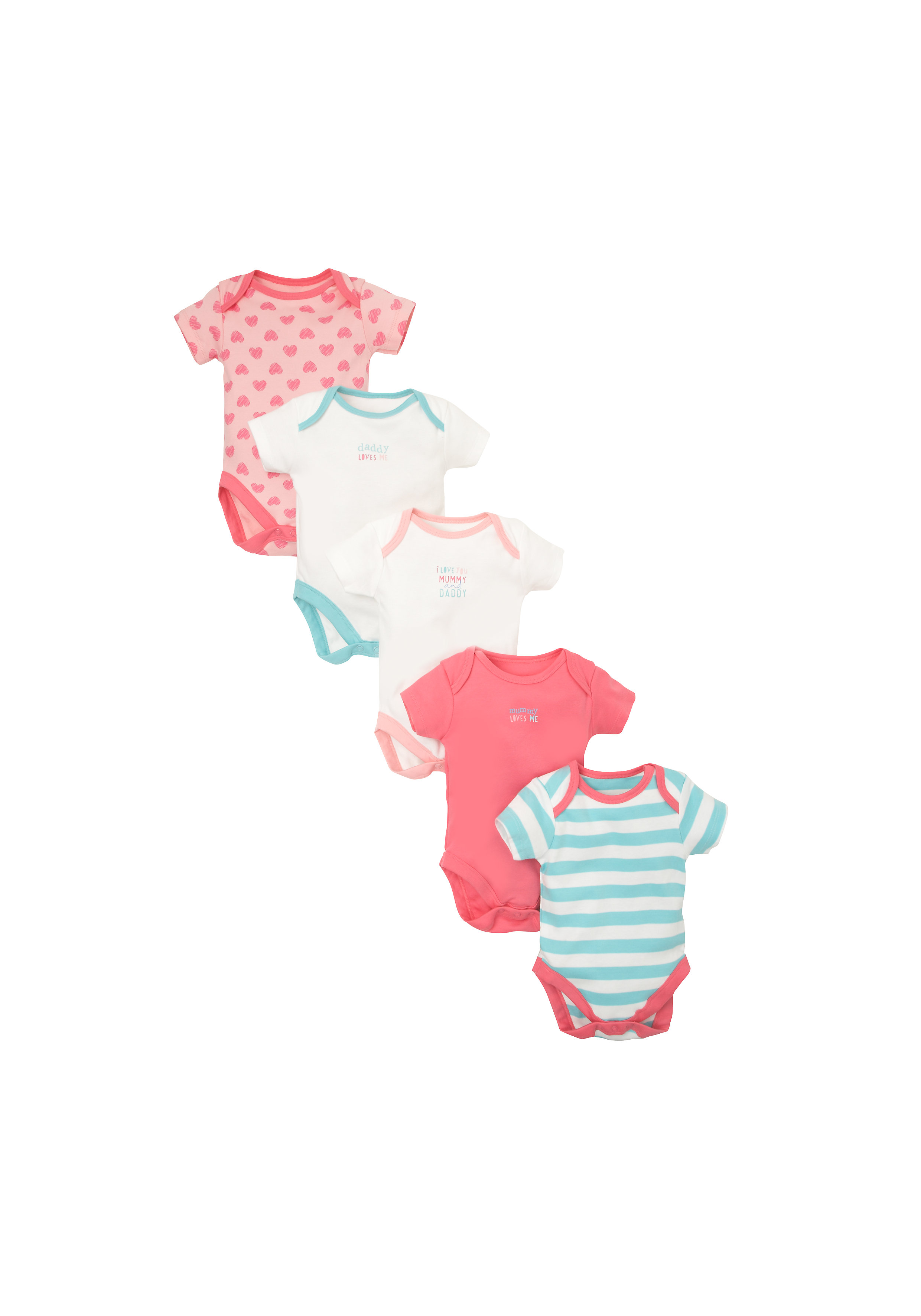 Mothercare   Girls Half Sleeves Bodysuit Printed And Striped - Pack Of 5 - Multicolor