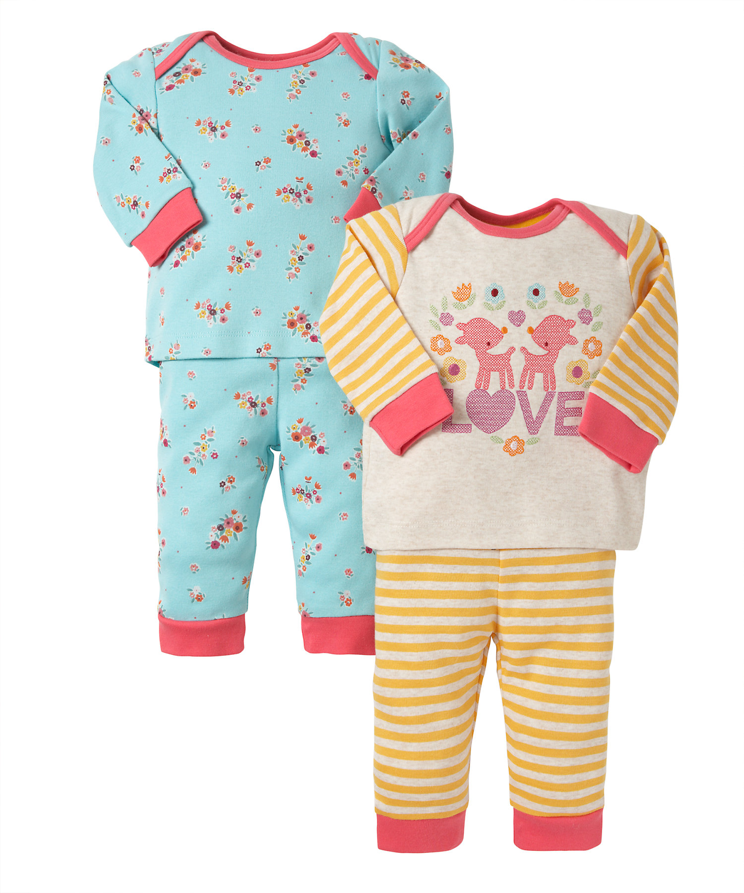 Mothercare | Girls Full Sleeves Pyjama Set Striped And Floral Print - Pack Of 2 - Multicolor