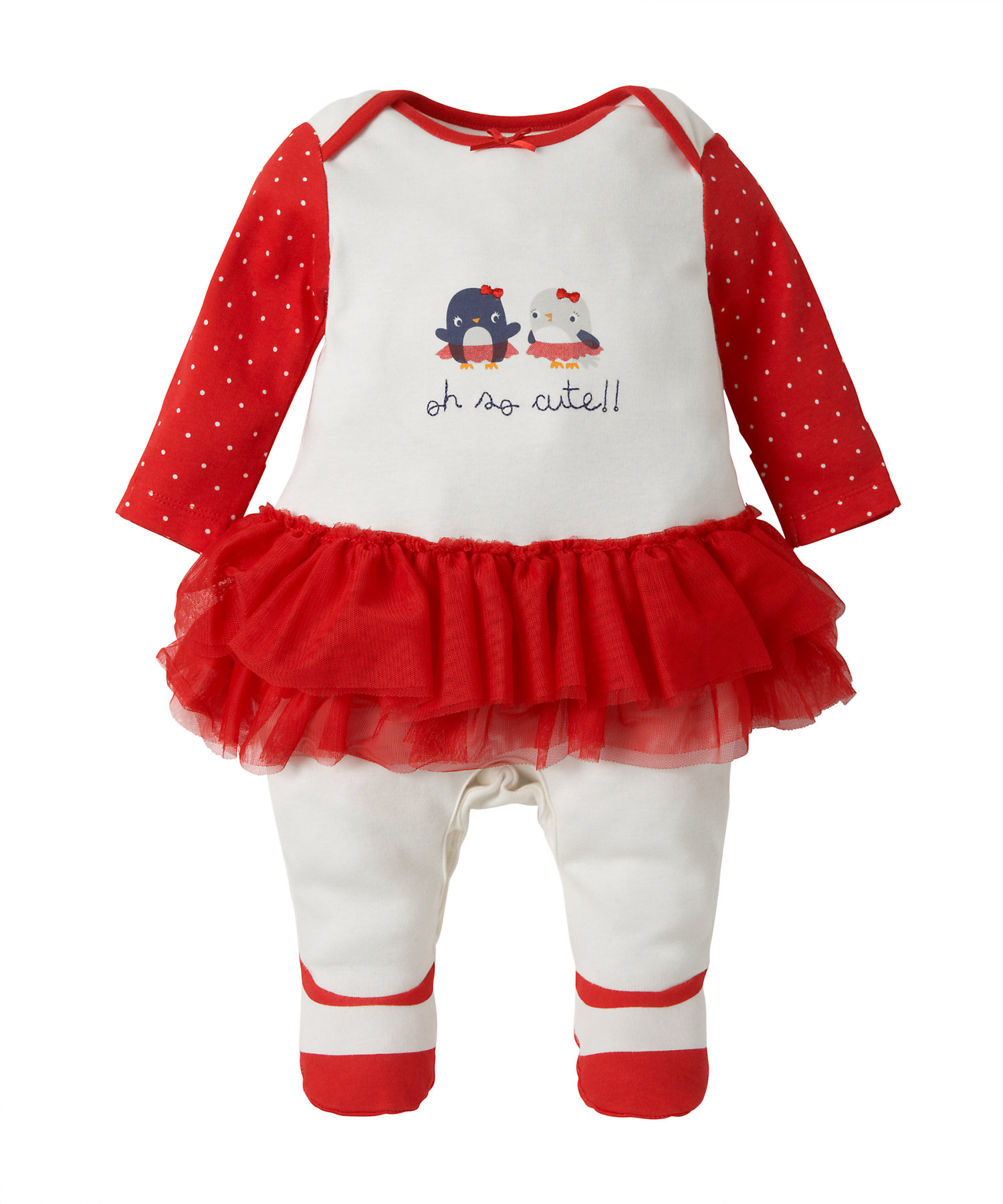 Mothercare | Girls Full Sleeves Romper Frock Style - Red