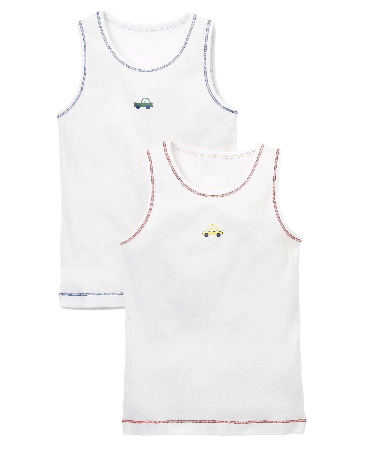 Mothercare   Boys Sleeveless Vest Car Print - Pack Of 2 - White