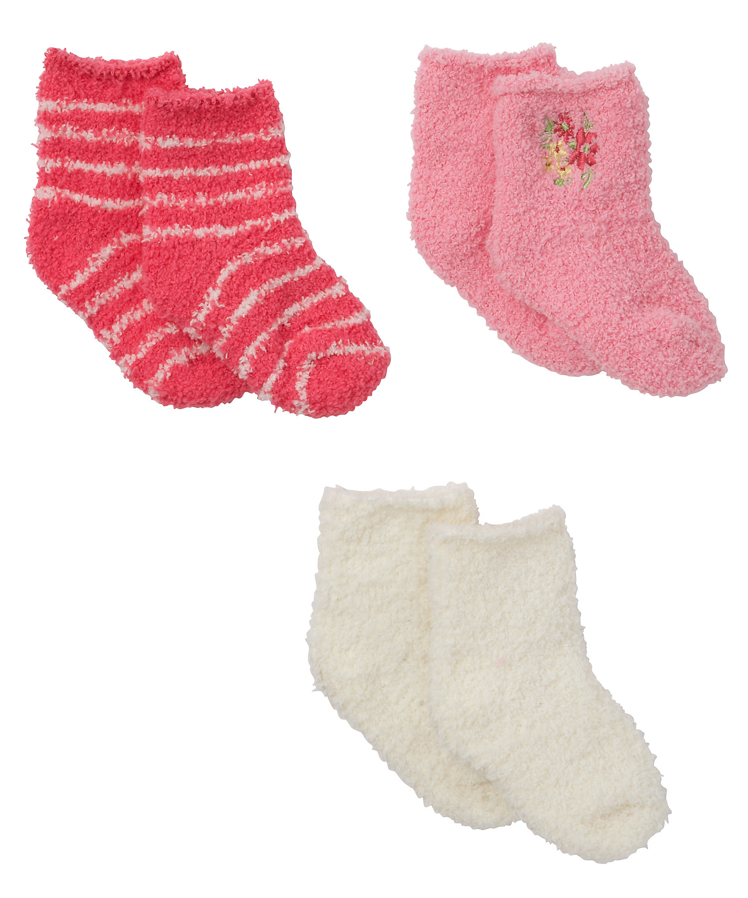 Mothercare   Girls  Fleece Socks Striped And Embroidered - Pack Of 3 - Multicolor