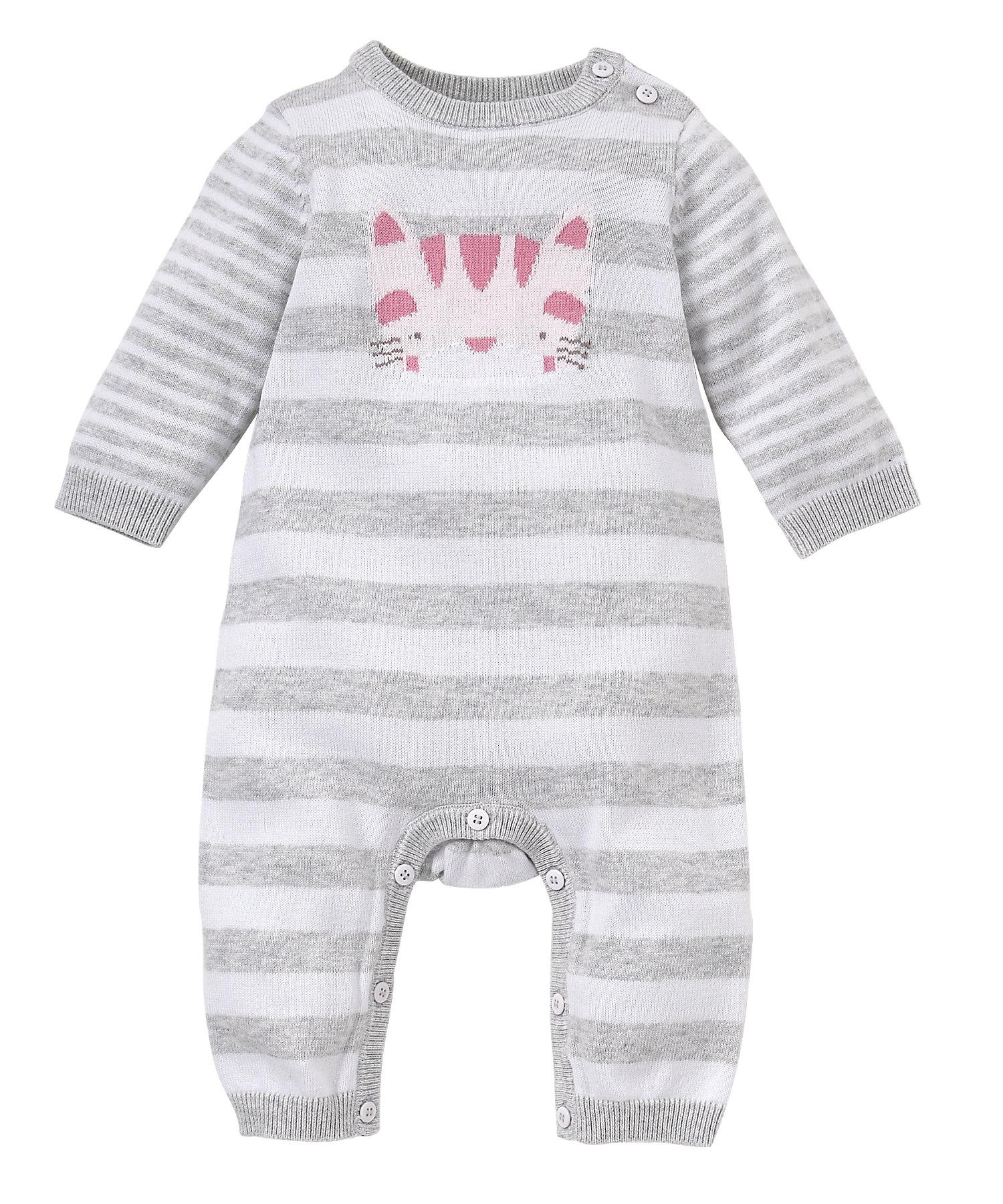 Mothercare | Girls Full Sleeves Romper Cat Design - Grey