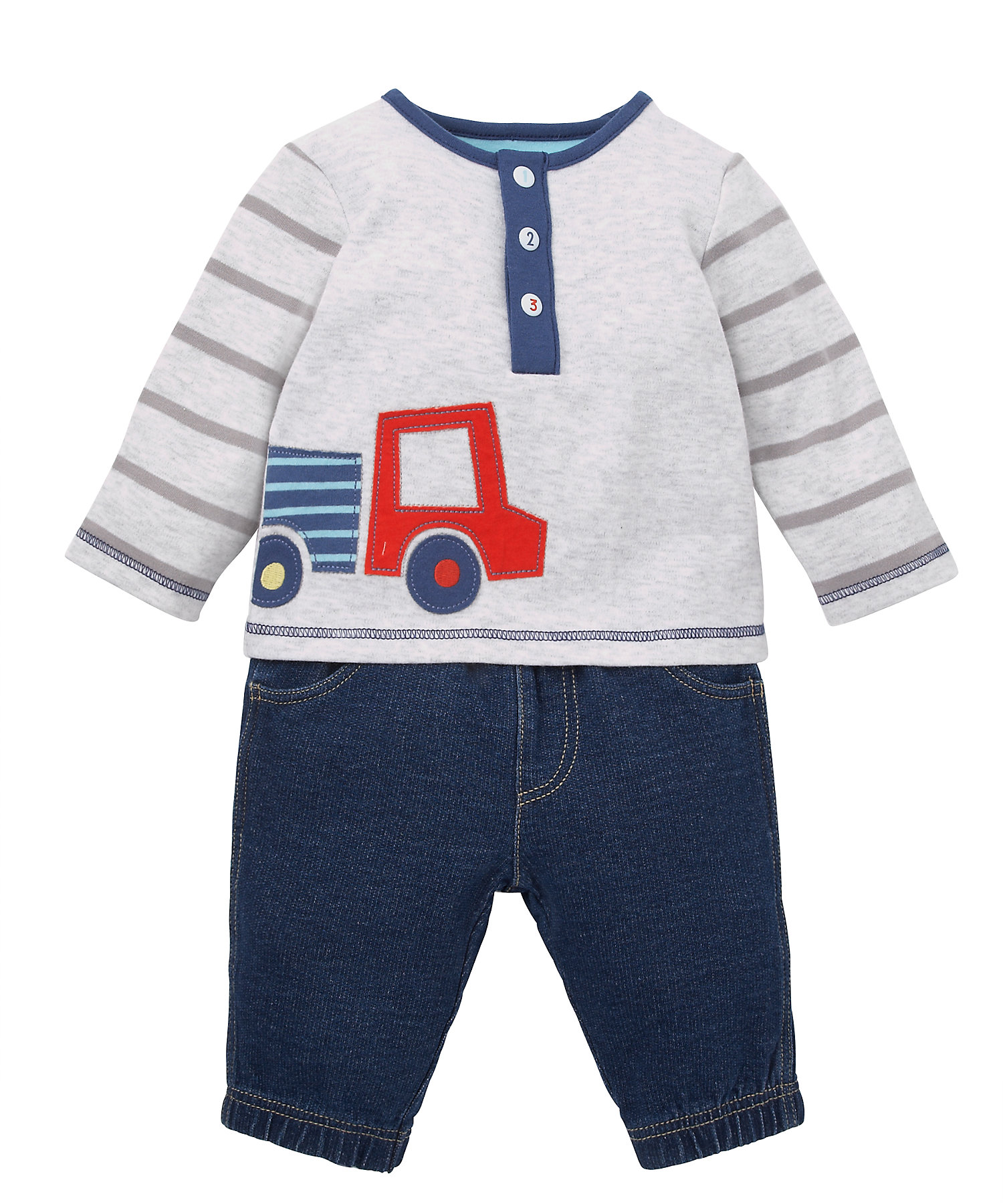 Mothercare | Boys Full Sleeves T-Shirt And Jeans Set Truck Patchwork - Grey