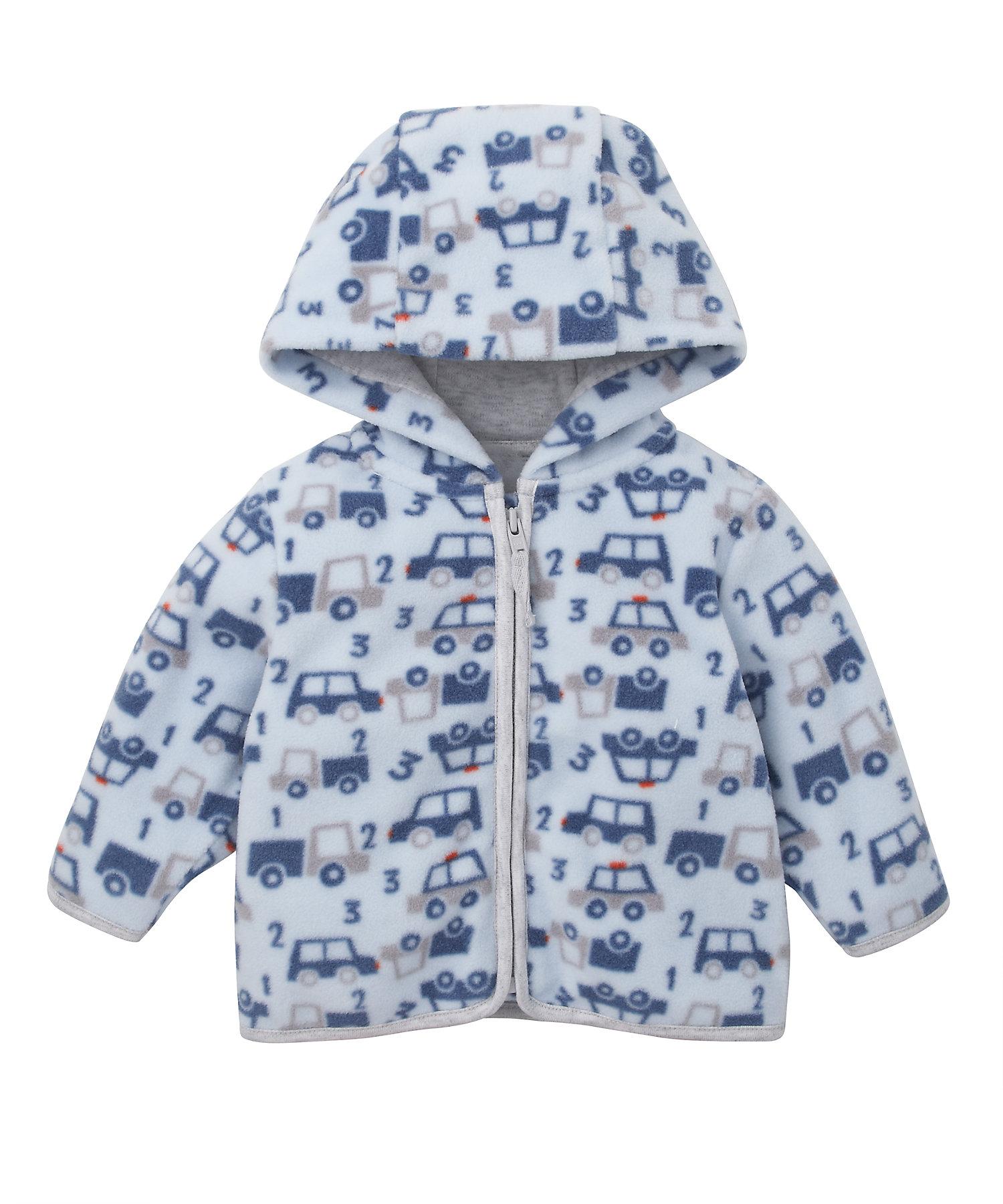 Mothercare   Boys Full Sleeves Fleece Jacket Car Print - Blue