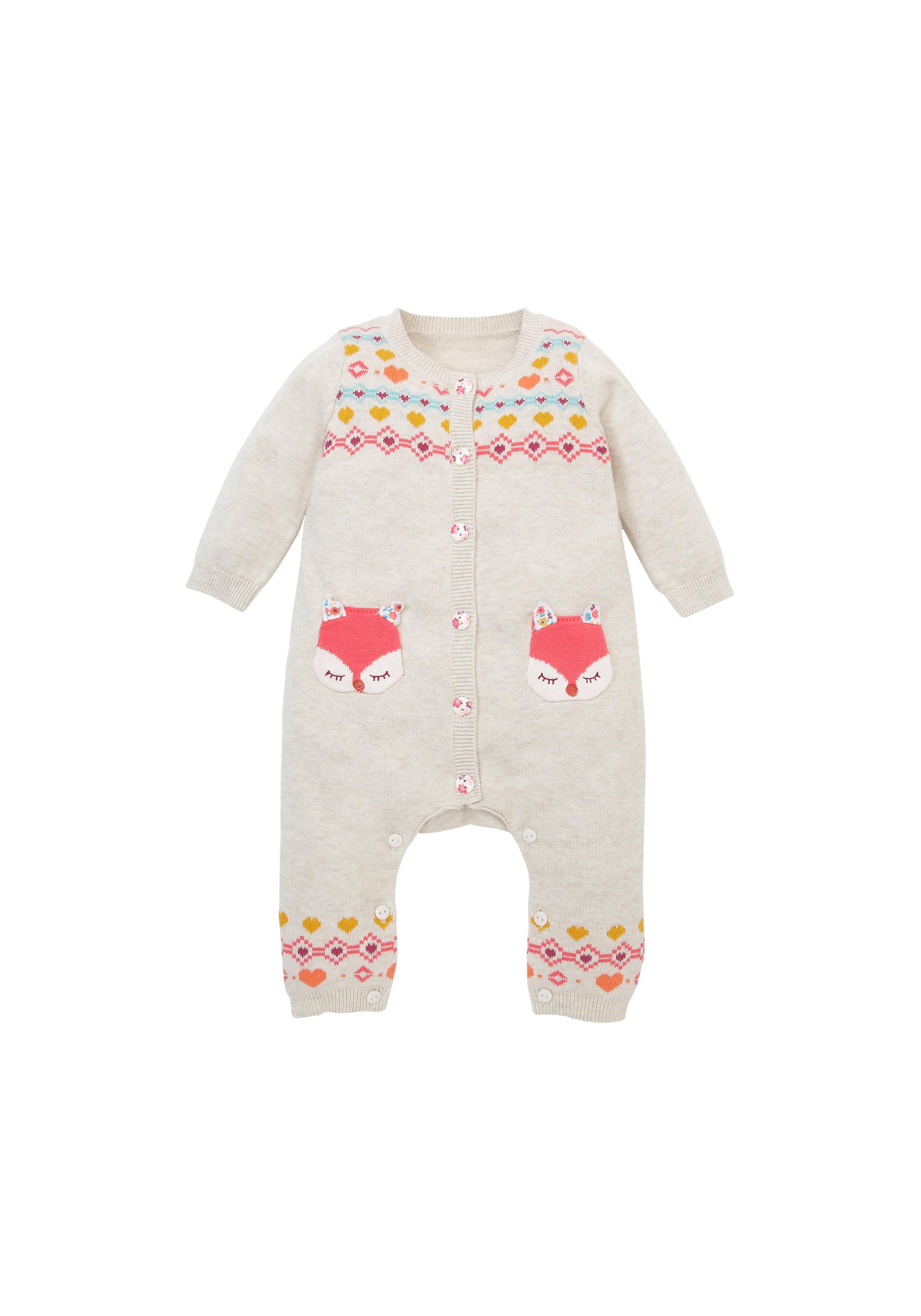 Mothercare | Girls Full Sleeves Romper Fox Patchwork - Beige