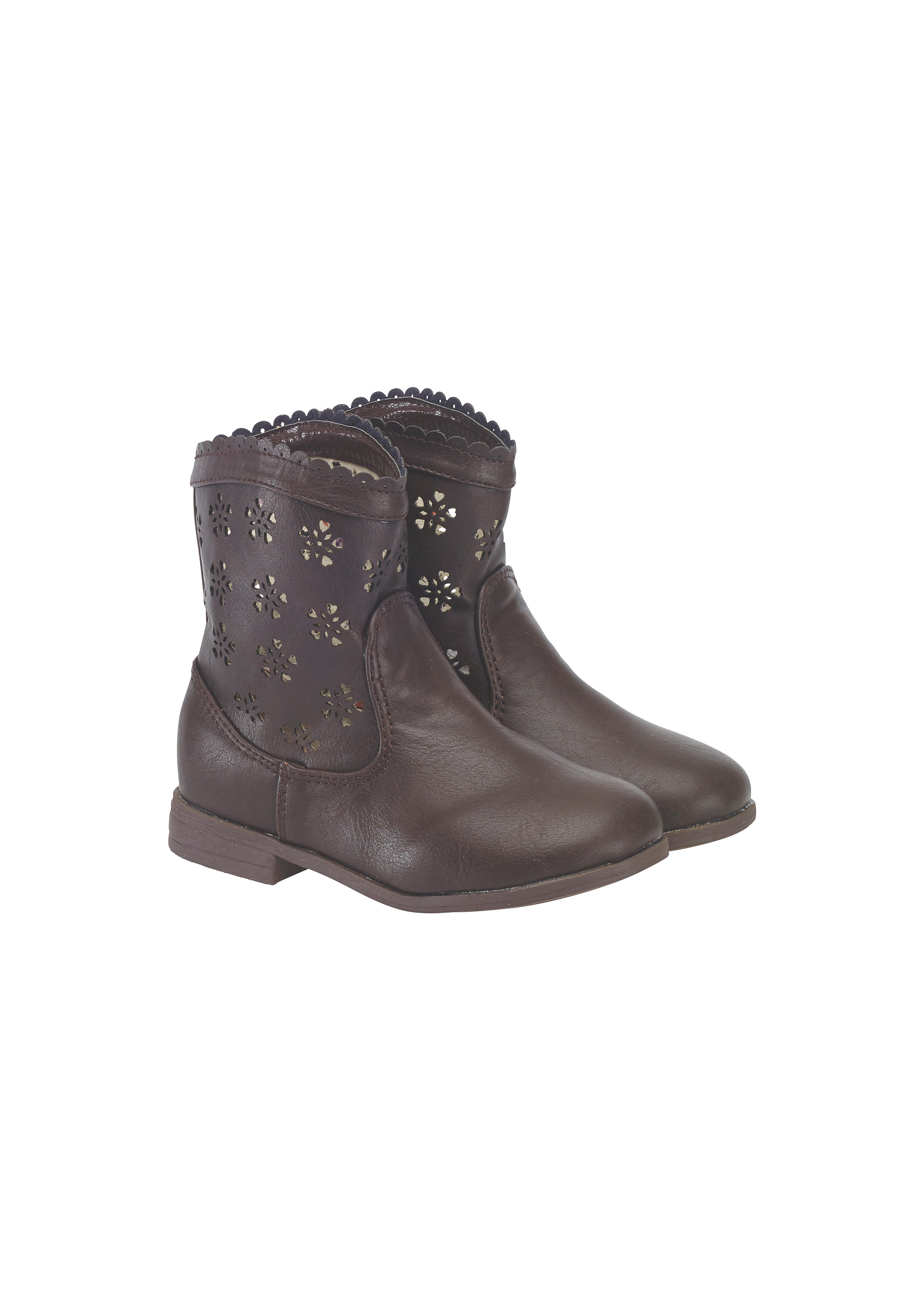 Mothercare | Girls Boots Cut Out Design - Brown