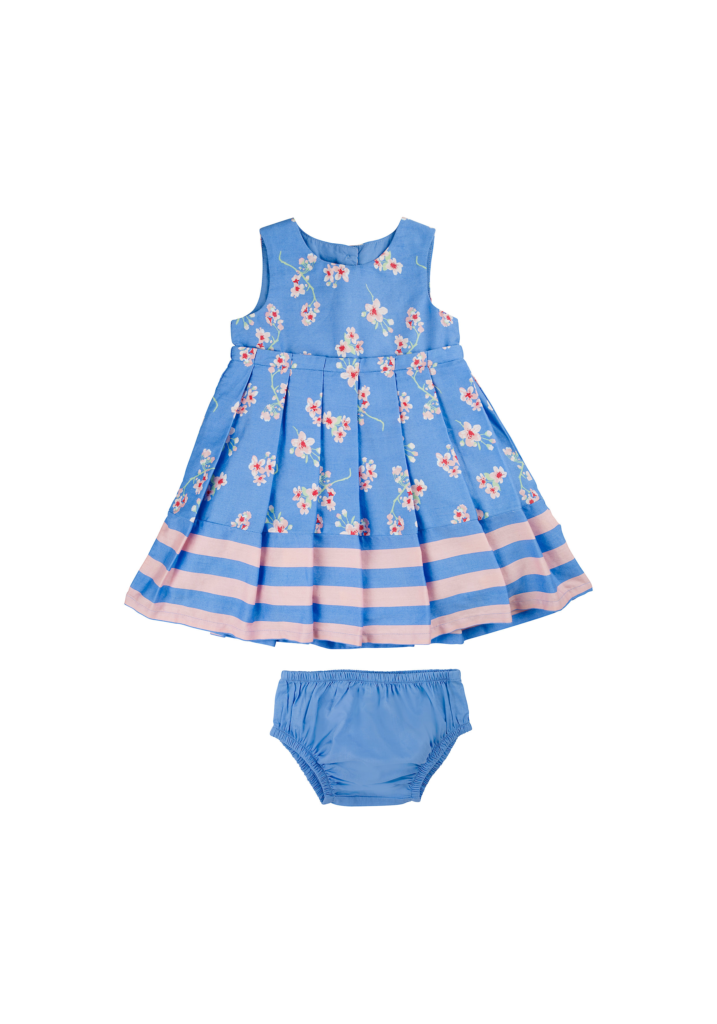 Mothercare | Girls Sleeveless Dress With Knickers Floral Print - Blue