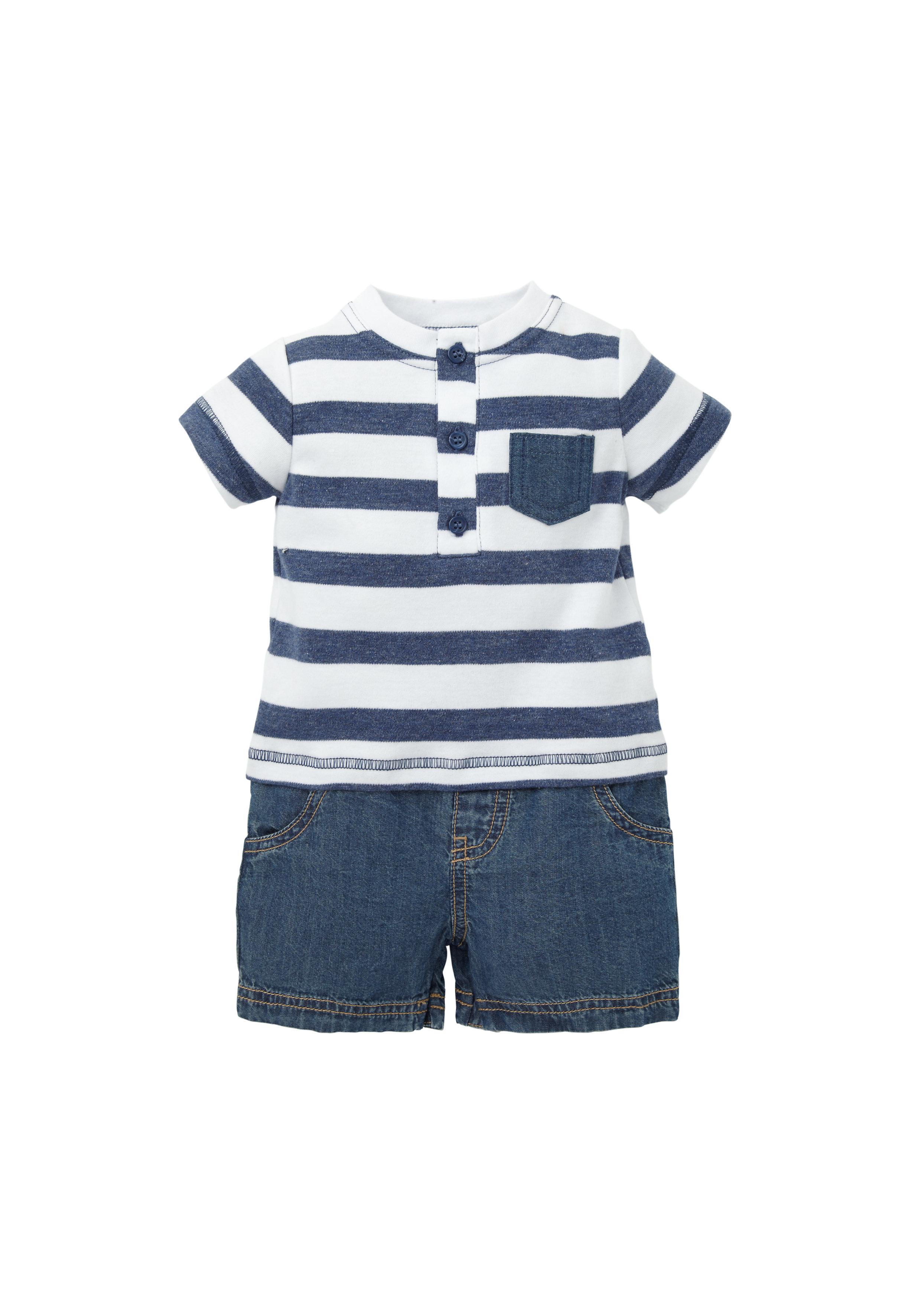 Mothercare | Boys Half Sleeves Mock T-Shirt Romper Striped - Navy