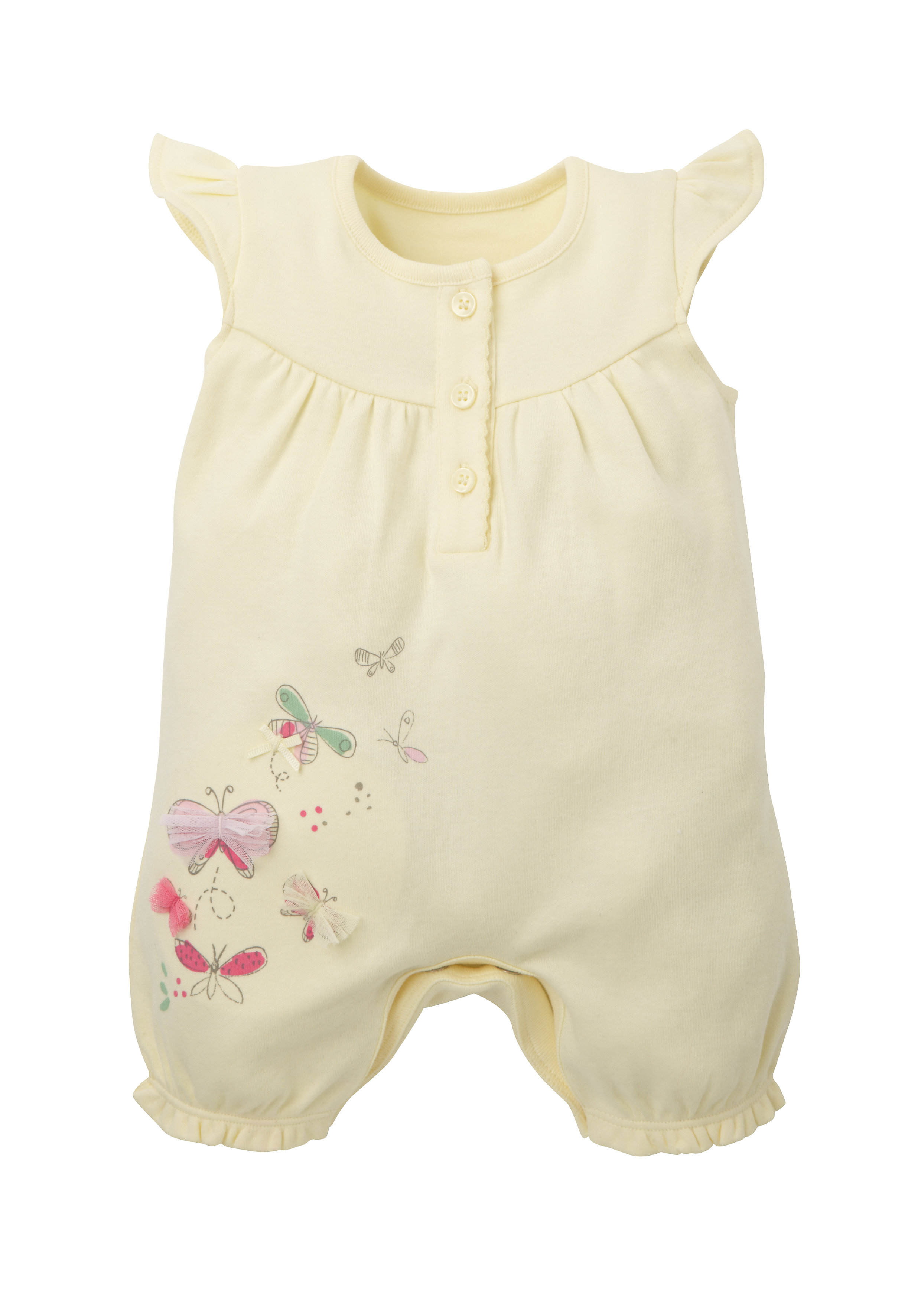 Mothercare | Girls Half Sleeves Romper Butterfly Design - Yellow