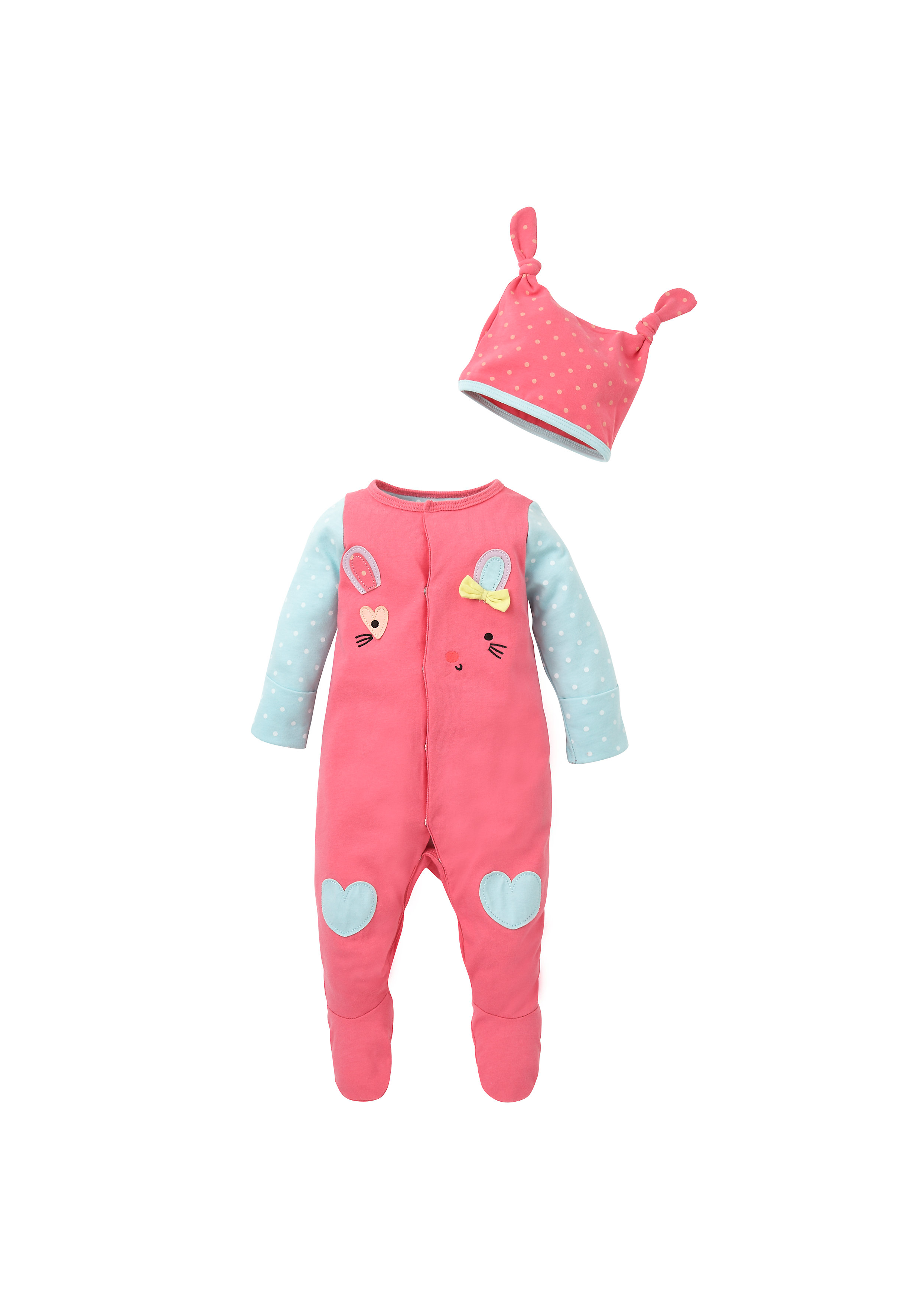 Mothercare   Girls Full Sleeves Romper With Hat 3D Details - Pink