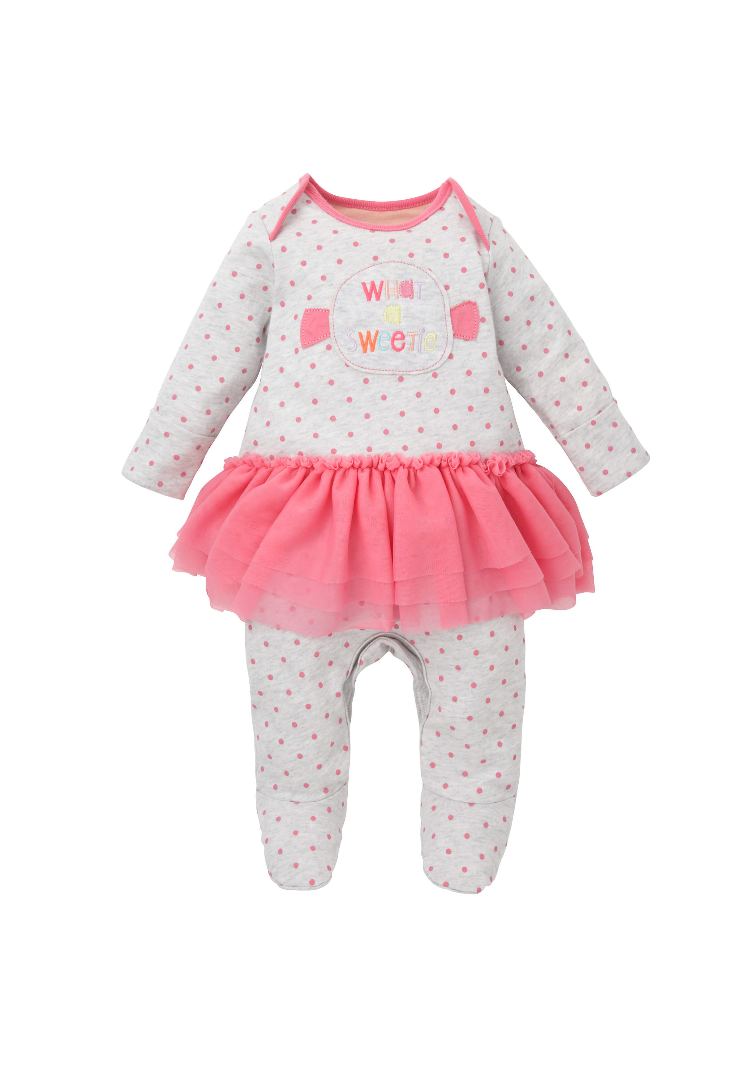 Mothercare   Girls Full Sleeves Frock Style Romper Text Embroidery - Grey