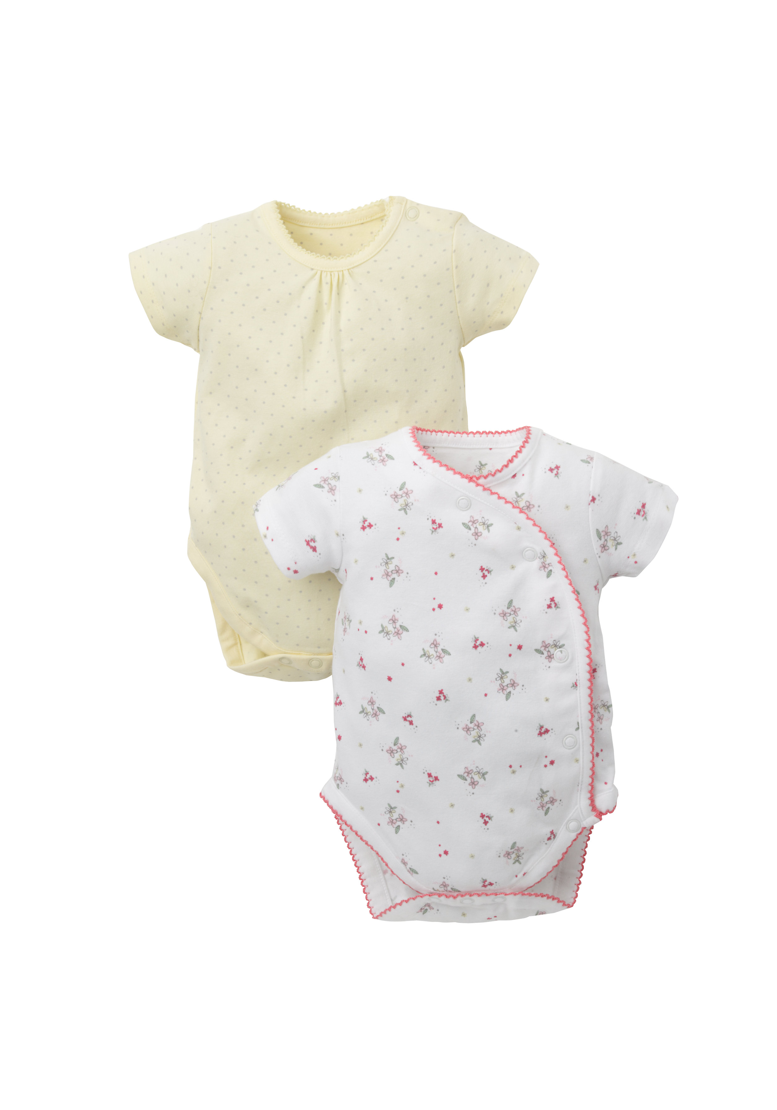 Mothercare | Girls Half Sleeves Bodysuit Floral Print - Pack Of 2 - White