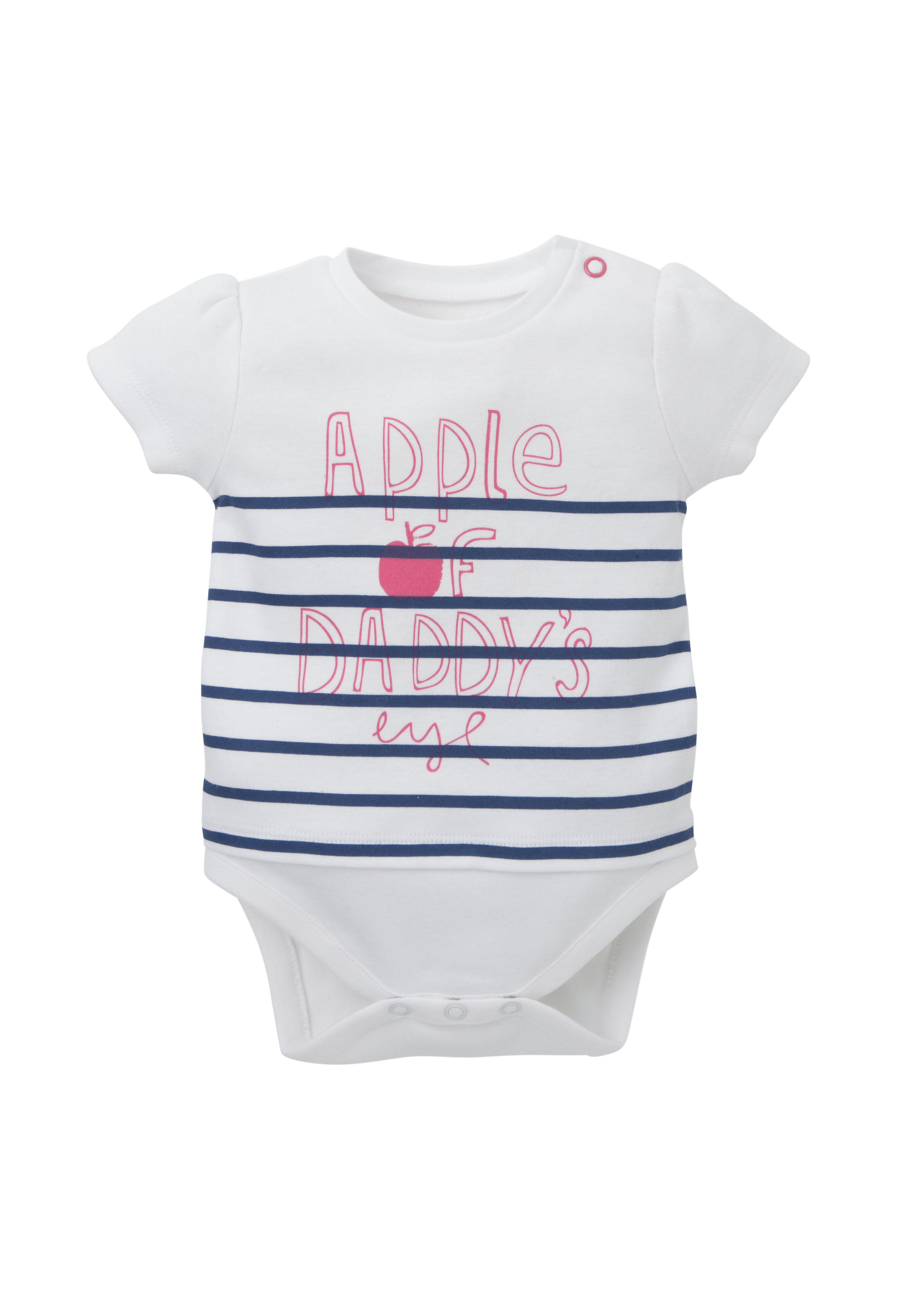 Mothercare | Girls Half Sleeves Mock Bodysuit Striped And Text Print - White