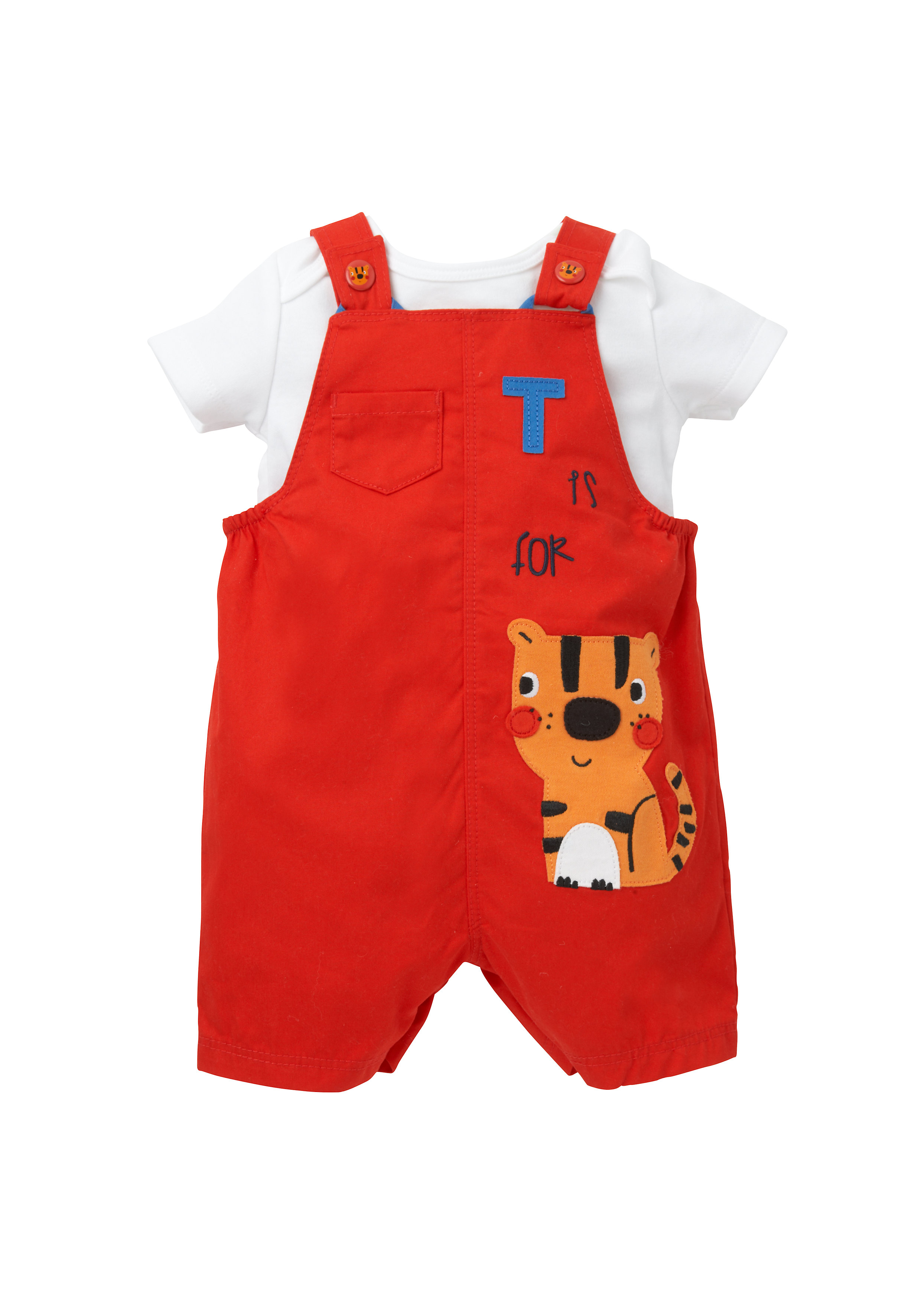 Mothercare | Boys Half Sleeves Dungaree Set Tiger Patchwork - Red