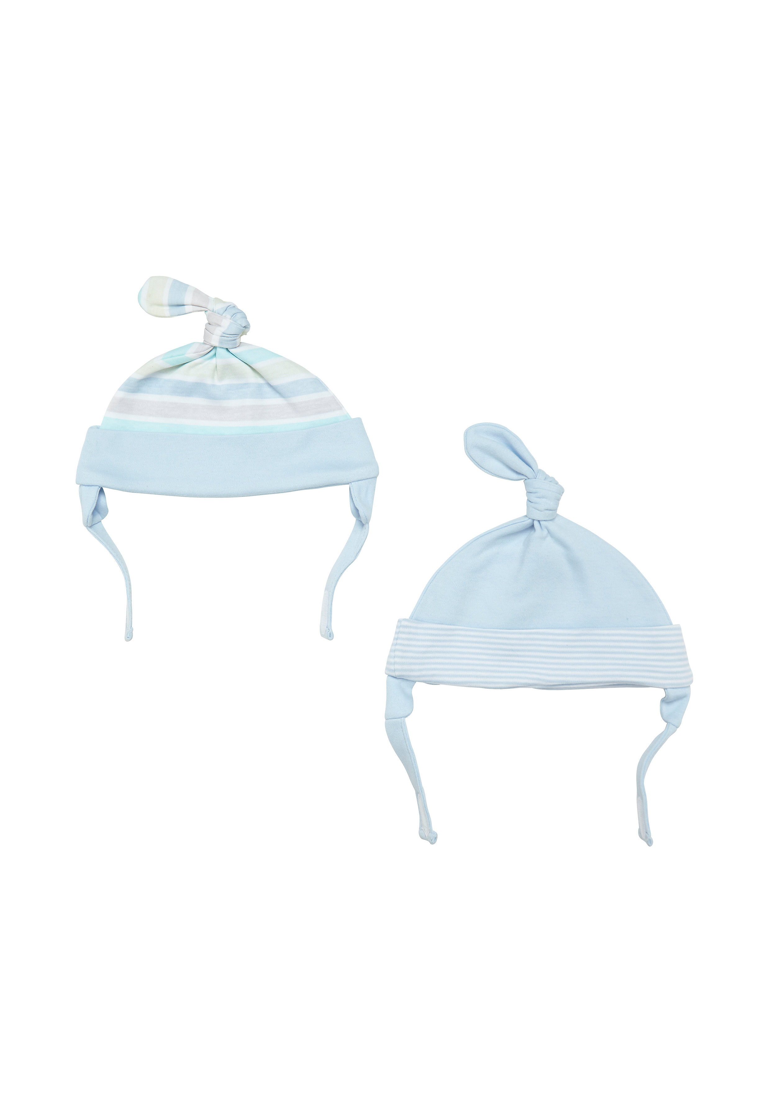 Mothercare   Boys Top Knot Hat Striped - Pack Of 2 - Blue