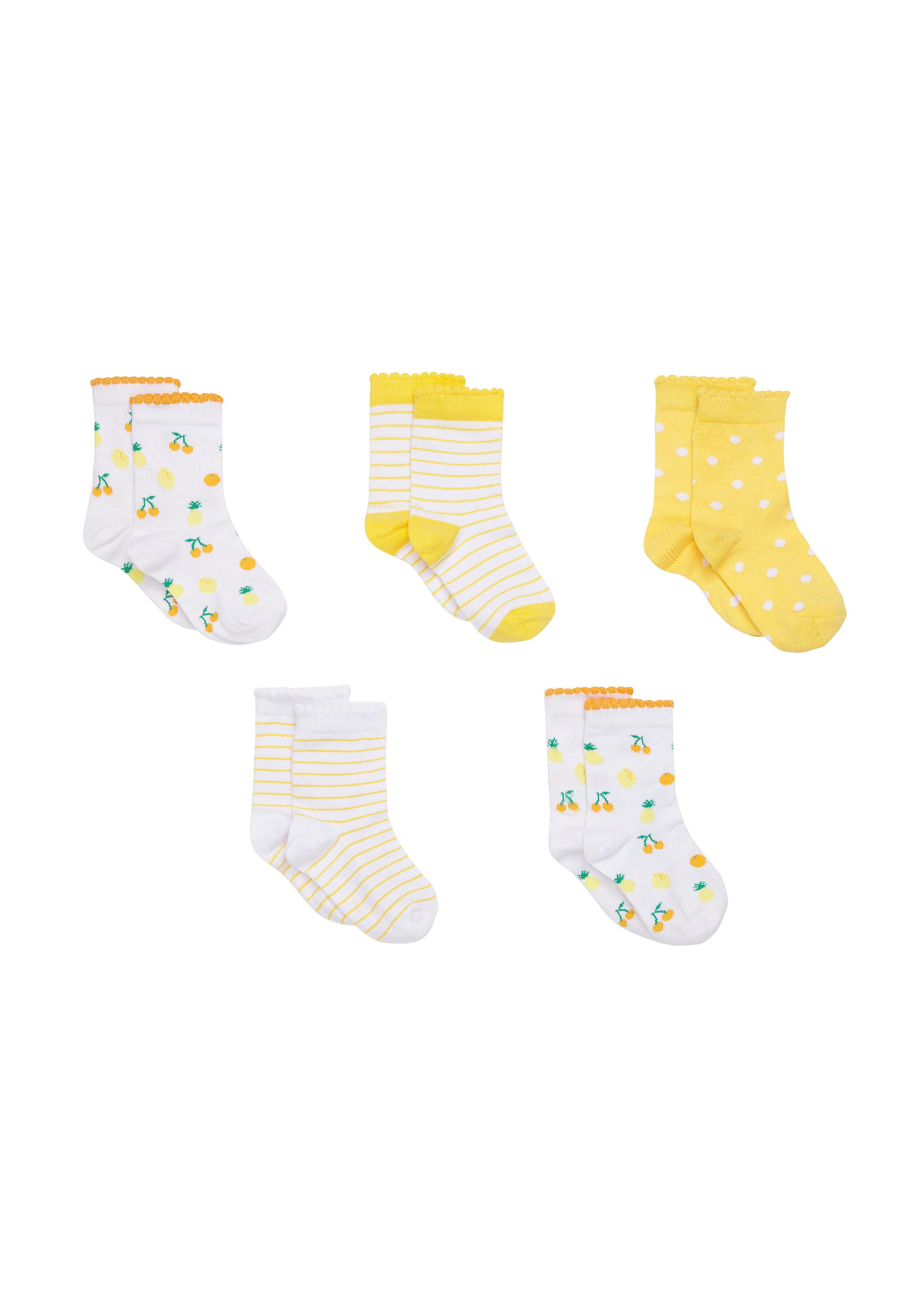 Mothercare   Girls  Socks Fruit Print - Pack Of 5 - Yellow