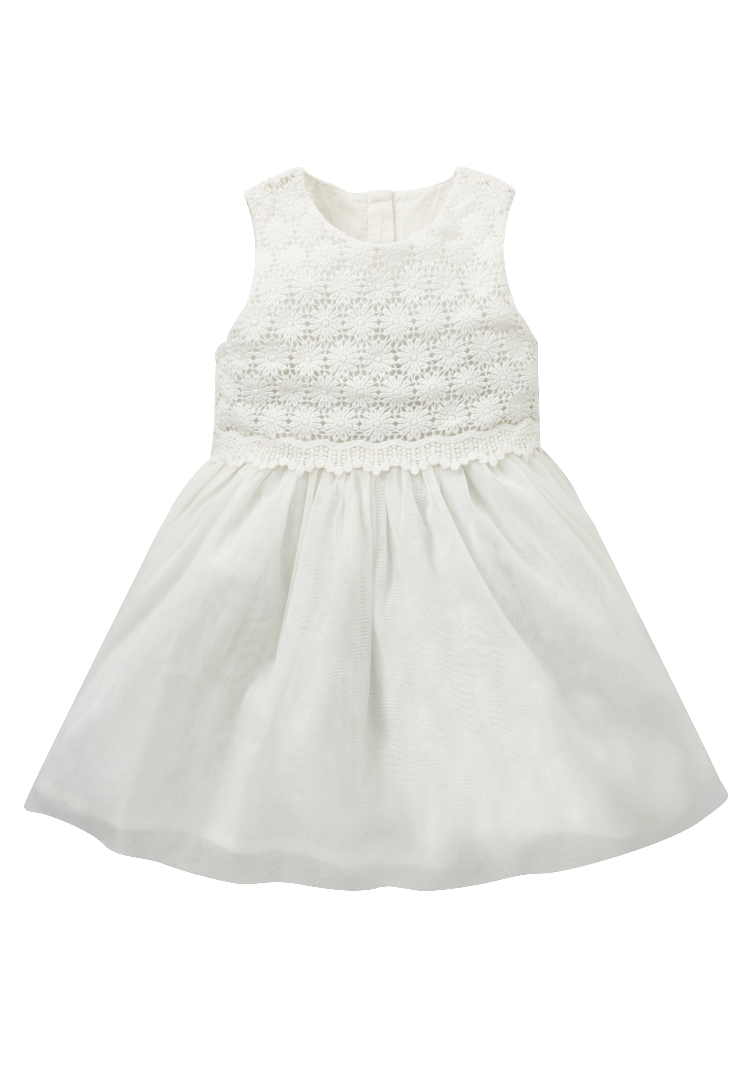 Mothercare   Girls Sleeveless Party Dress Embroidered Lace Detail - Cream