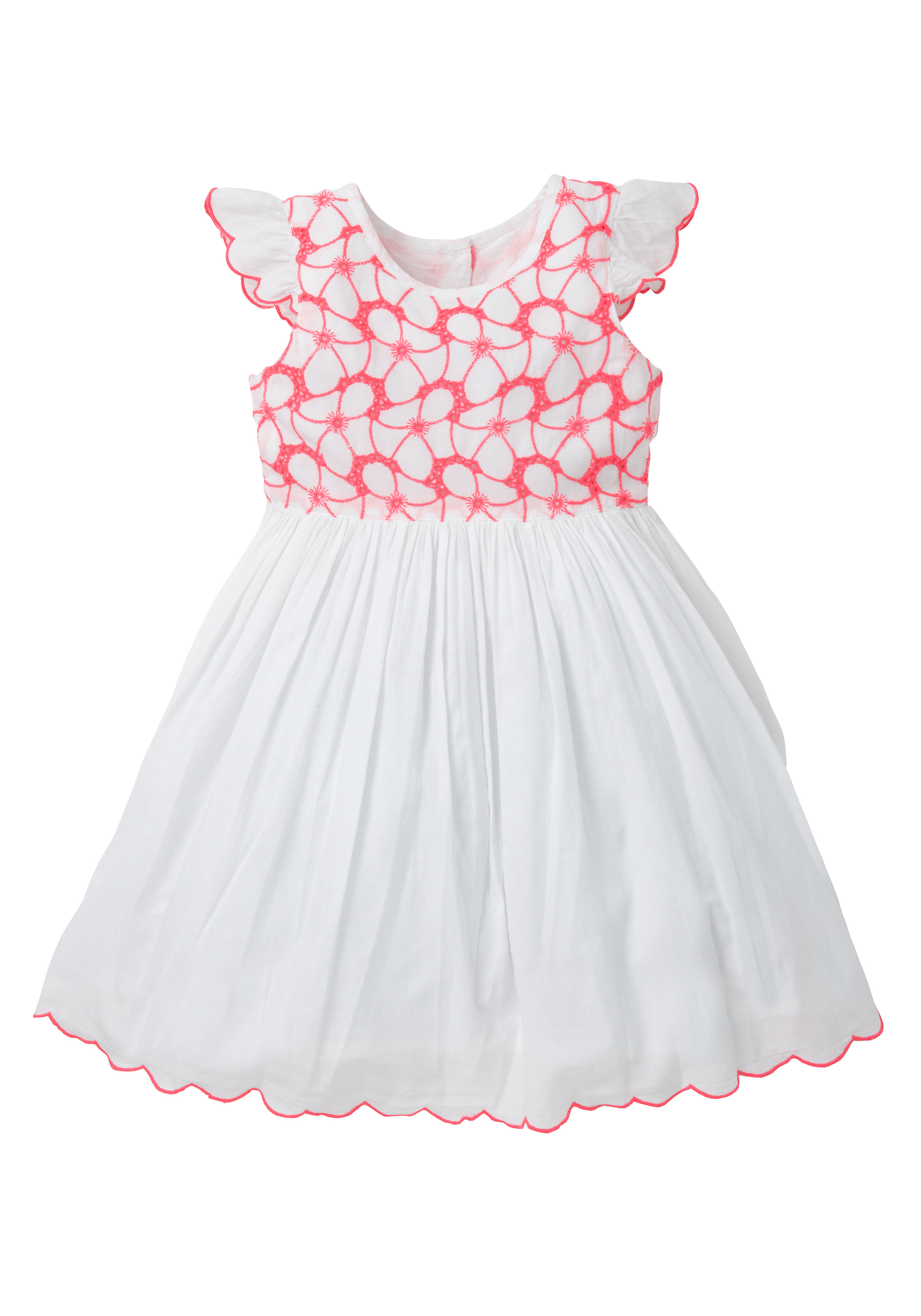 Mothercare | Girls White And Pink Embroidered Dress - White