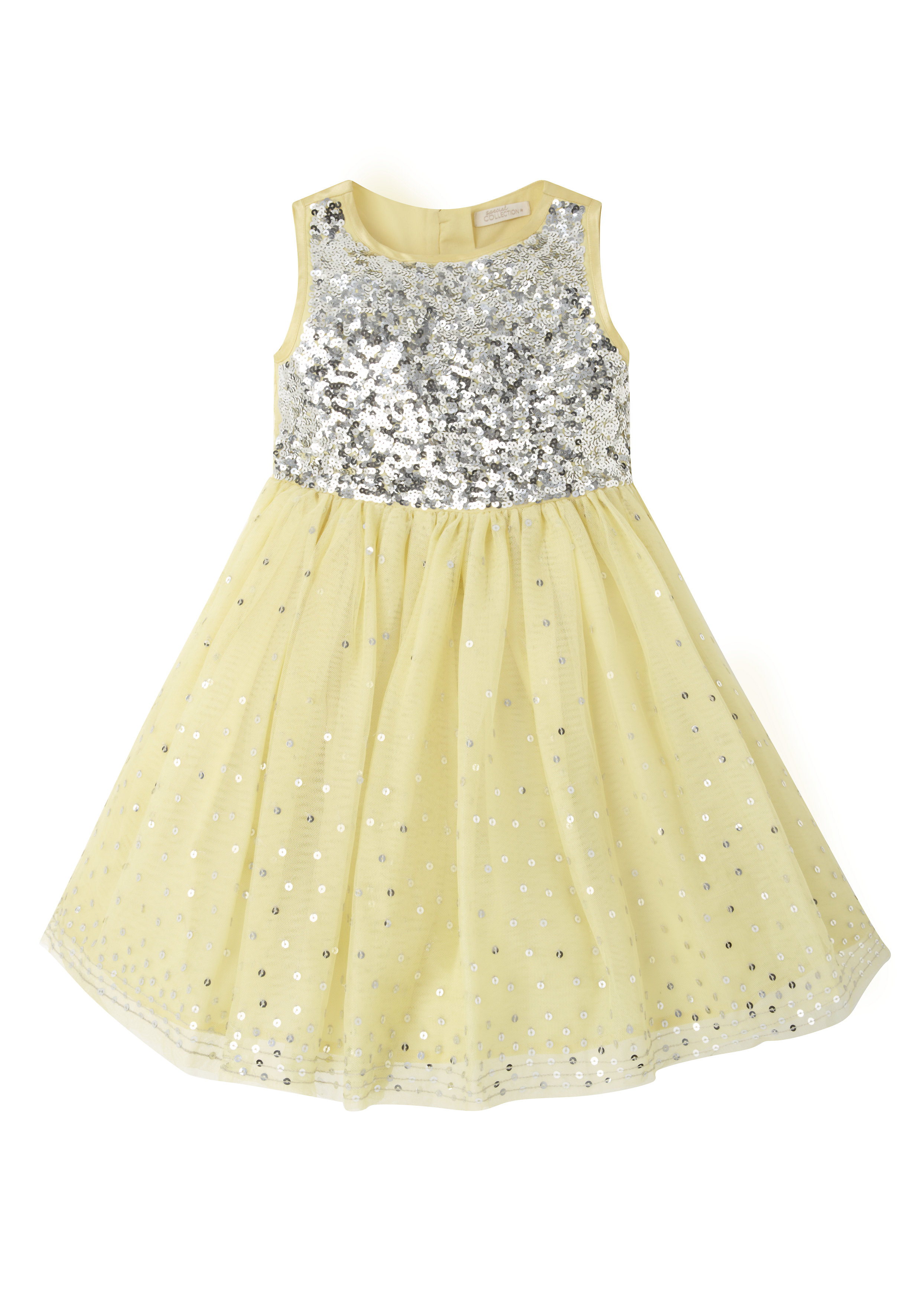 Mothercare | Girls  Sequin Bodice Dress - Yellow