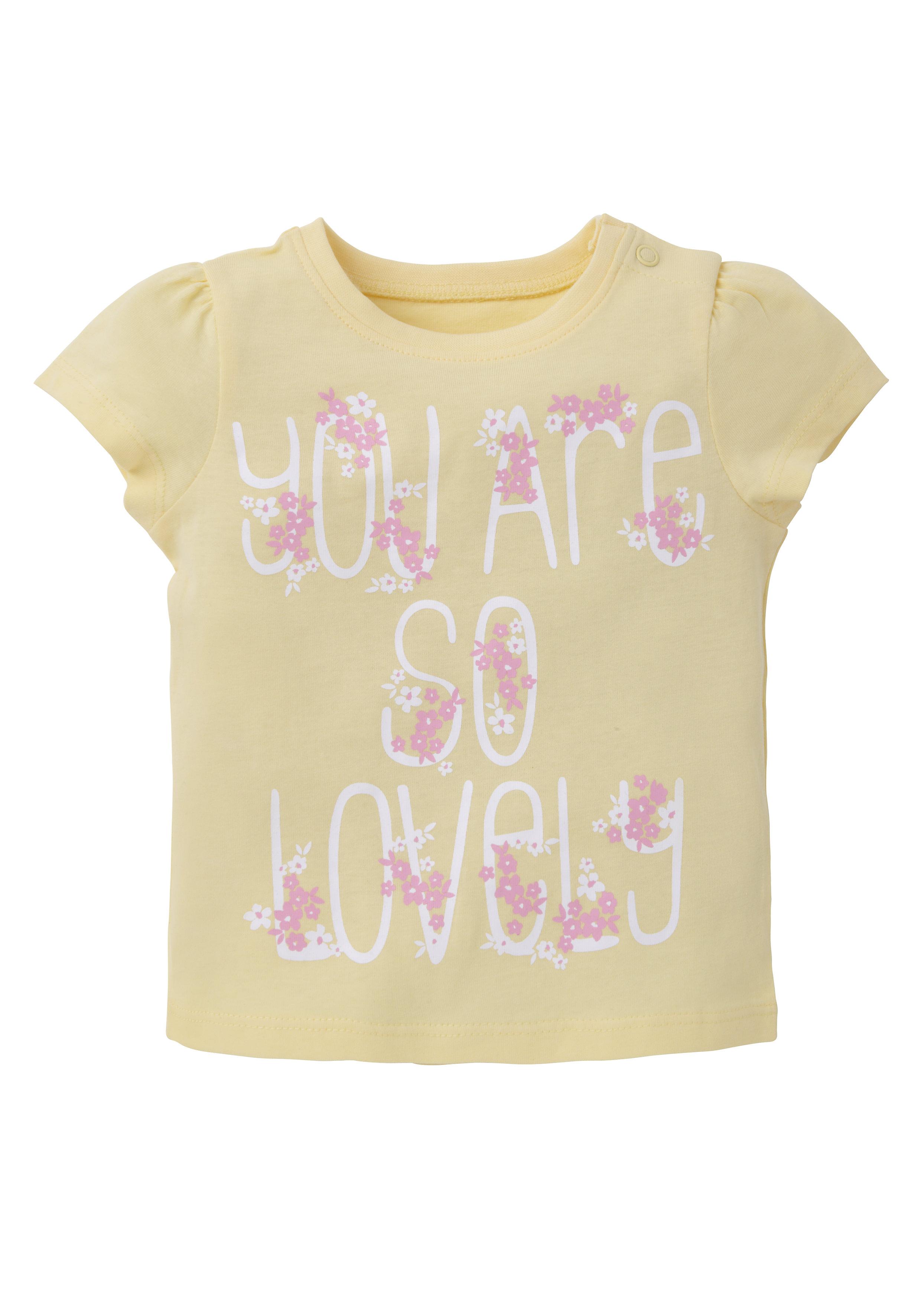 Mothercare | Girls Half Sleeves T-Shirt Text Print - Yellow