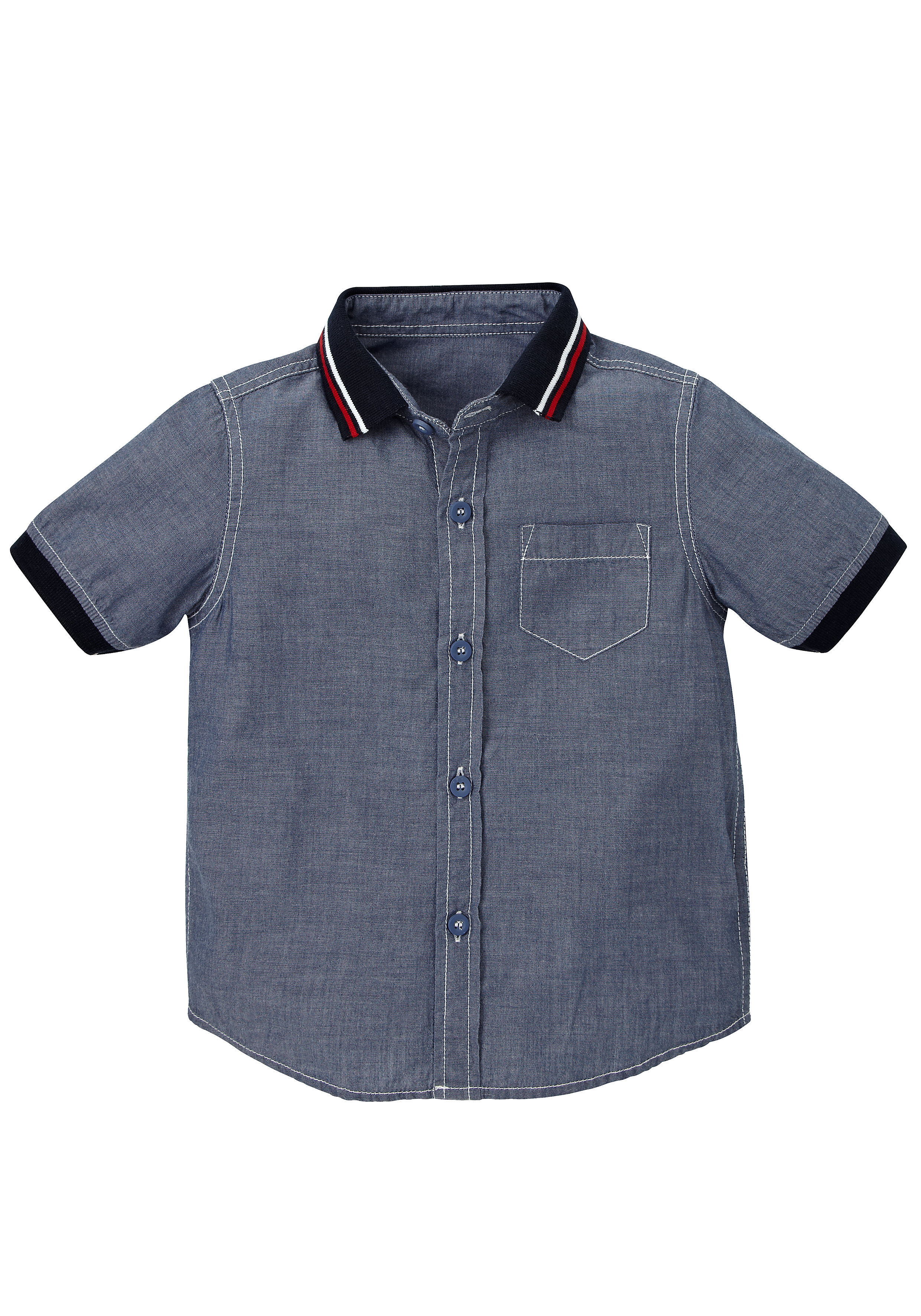 Mothercare | Boys Half Sleeves Chambray Shirt Ribbed Collar - Navy