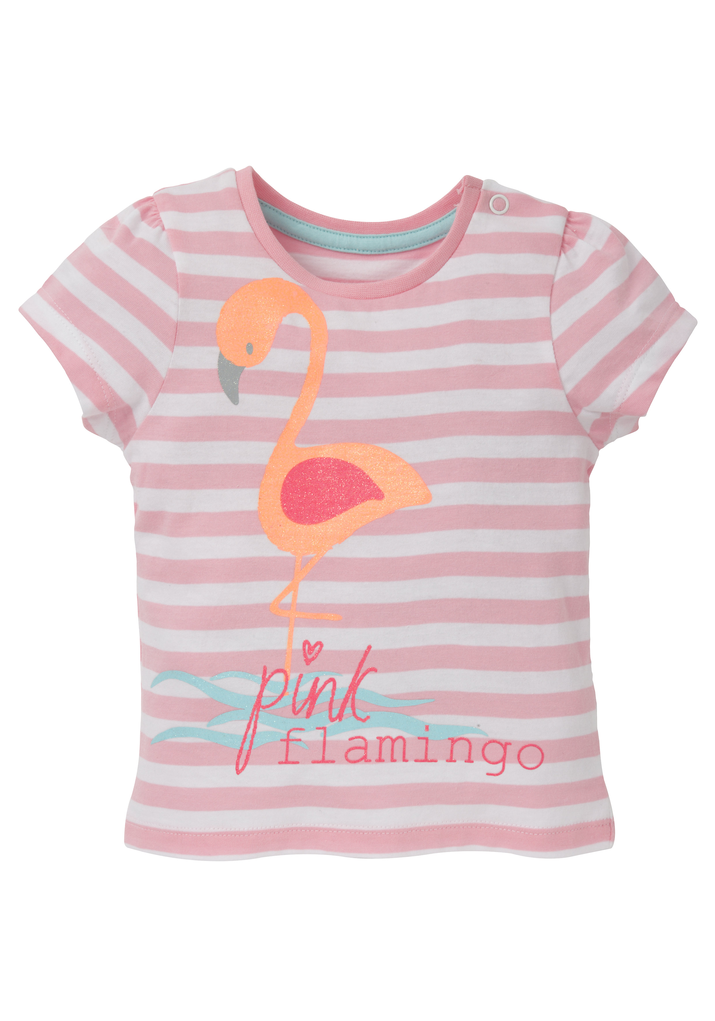Mothercare | Girls Half Sleeves T-Shirt Striped Flamingo Print - Pink