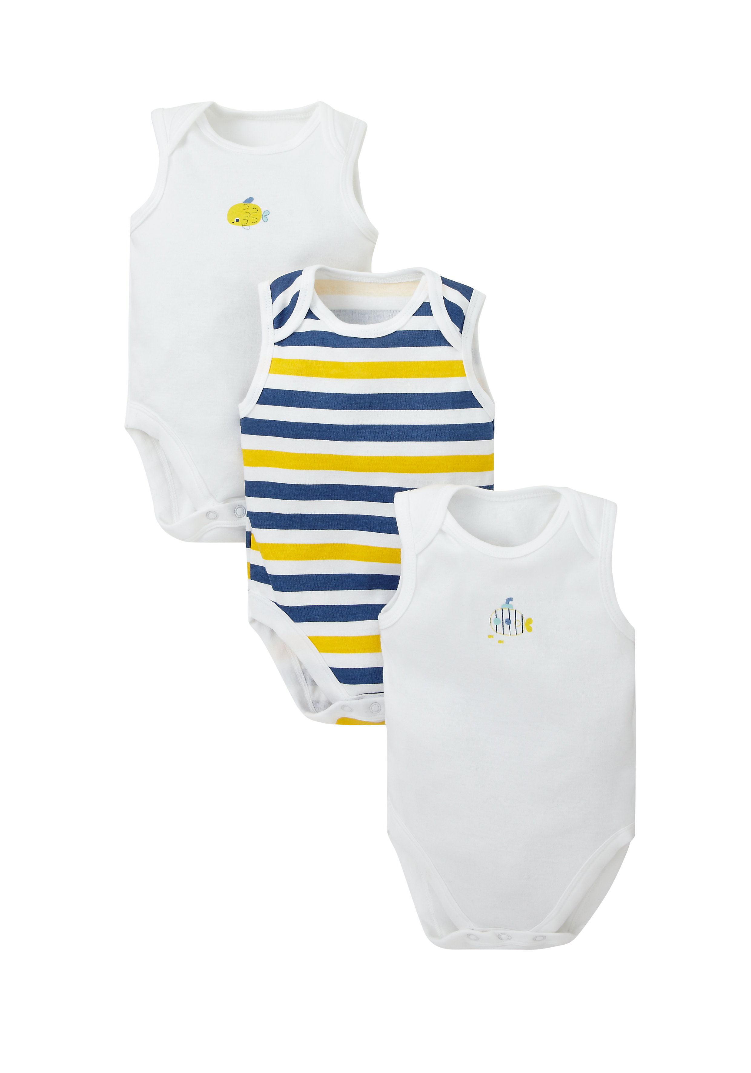 Mothercare   Multicolor Boys Submarine And Fish Bodysuits- Pack Of 3