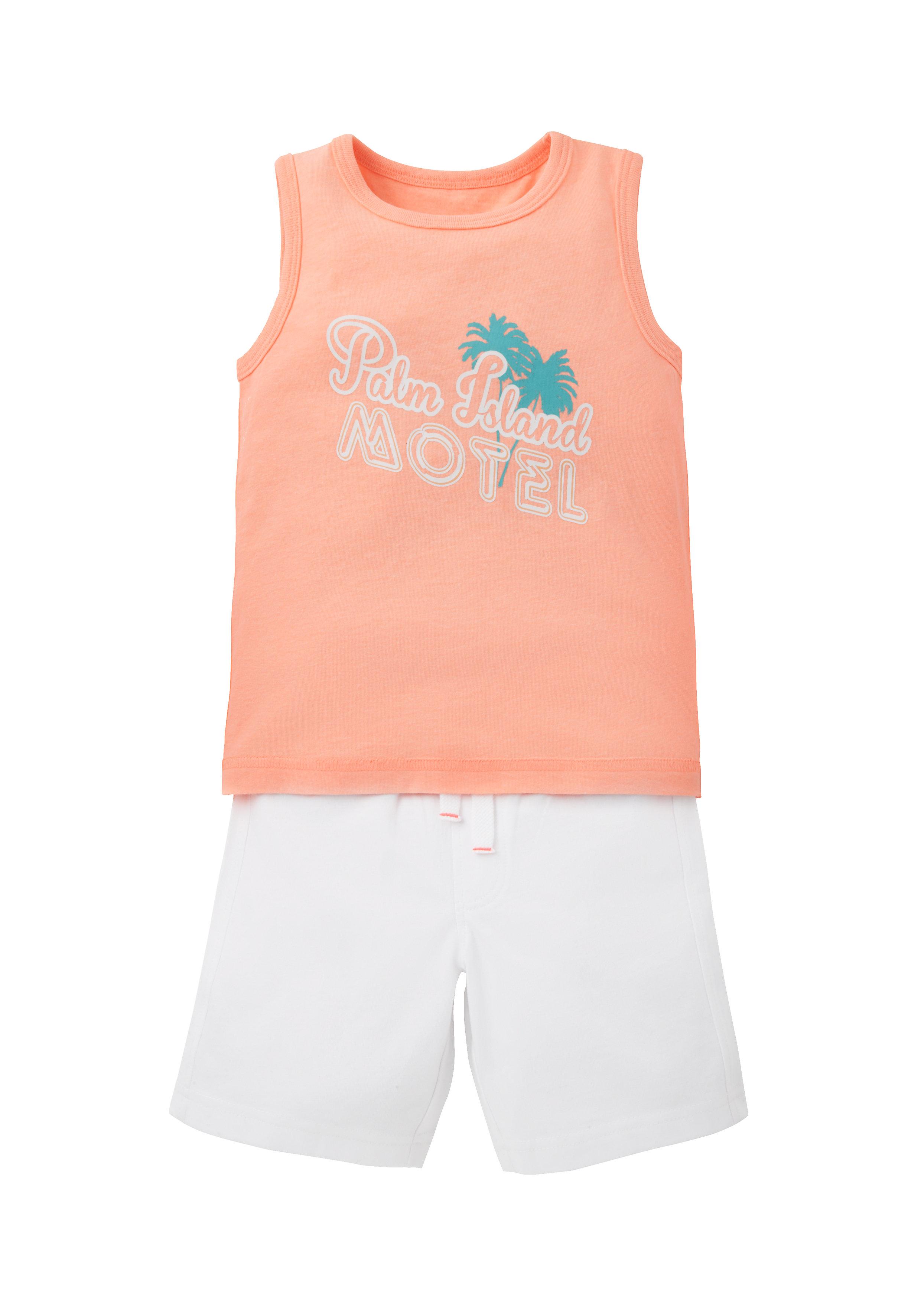 Mothercare | Boys Sleeveless T-Shirt And Shorts Set Text Print - Orange