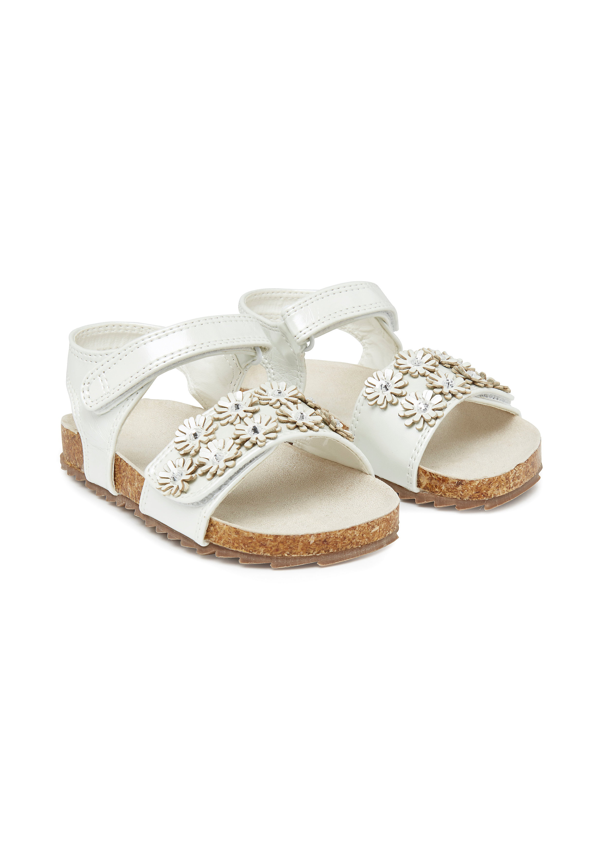 Mothercare   Girls Flower Footbed Sandals - Cream