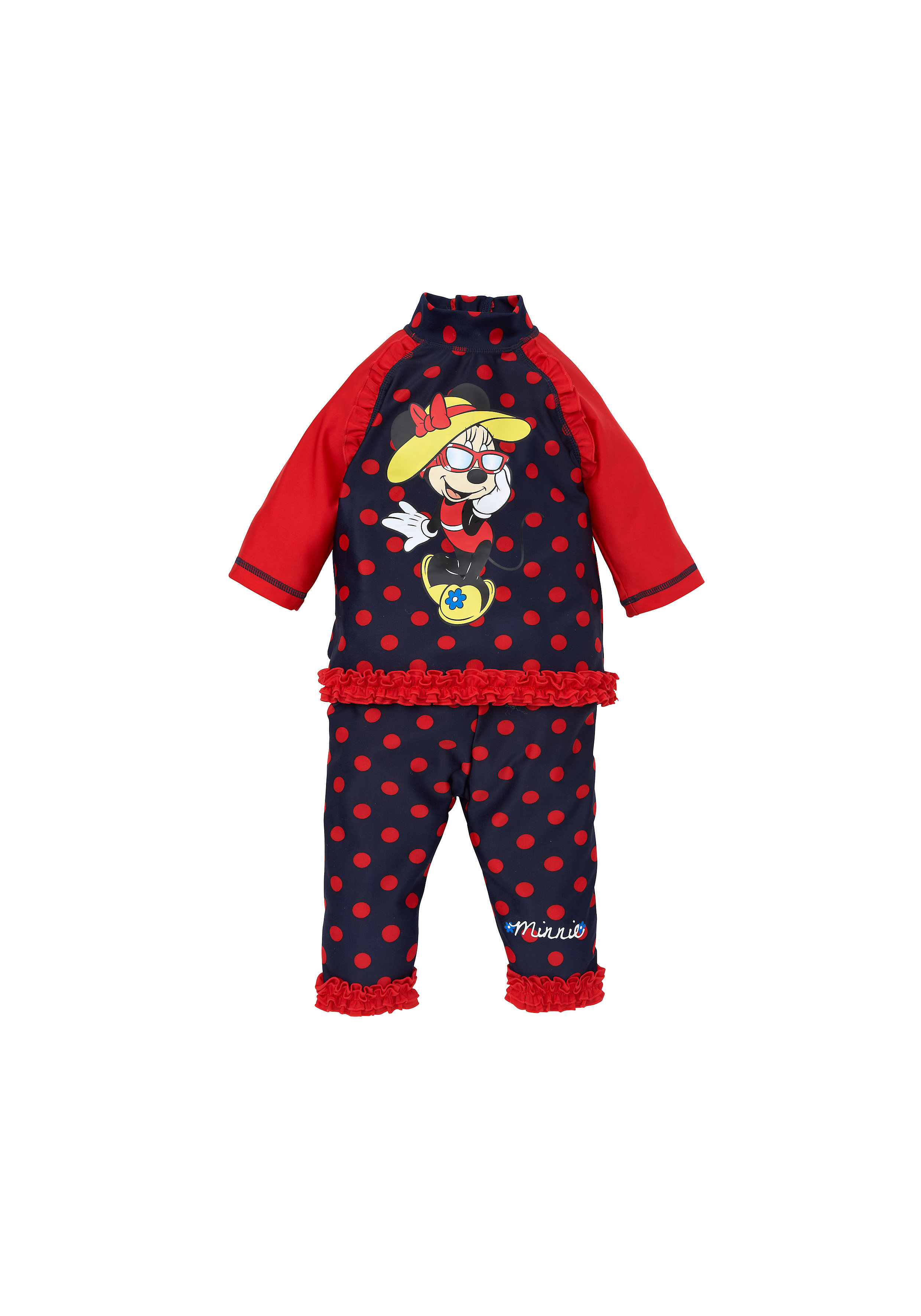 Mothercare | Girls Full Sleeves Beachwear Set Minnie Print - Red