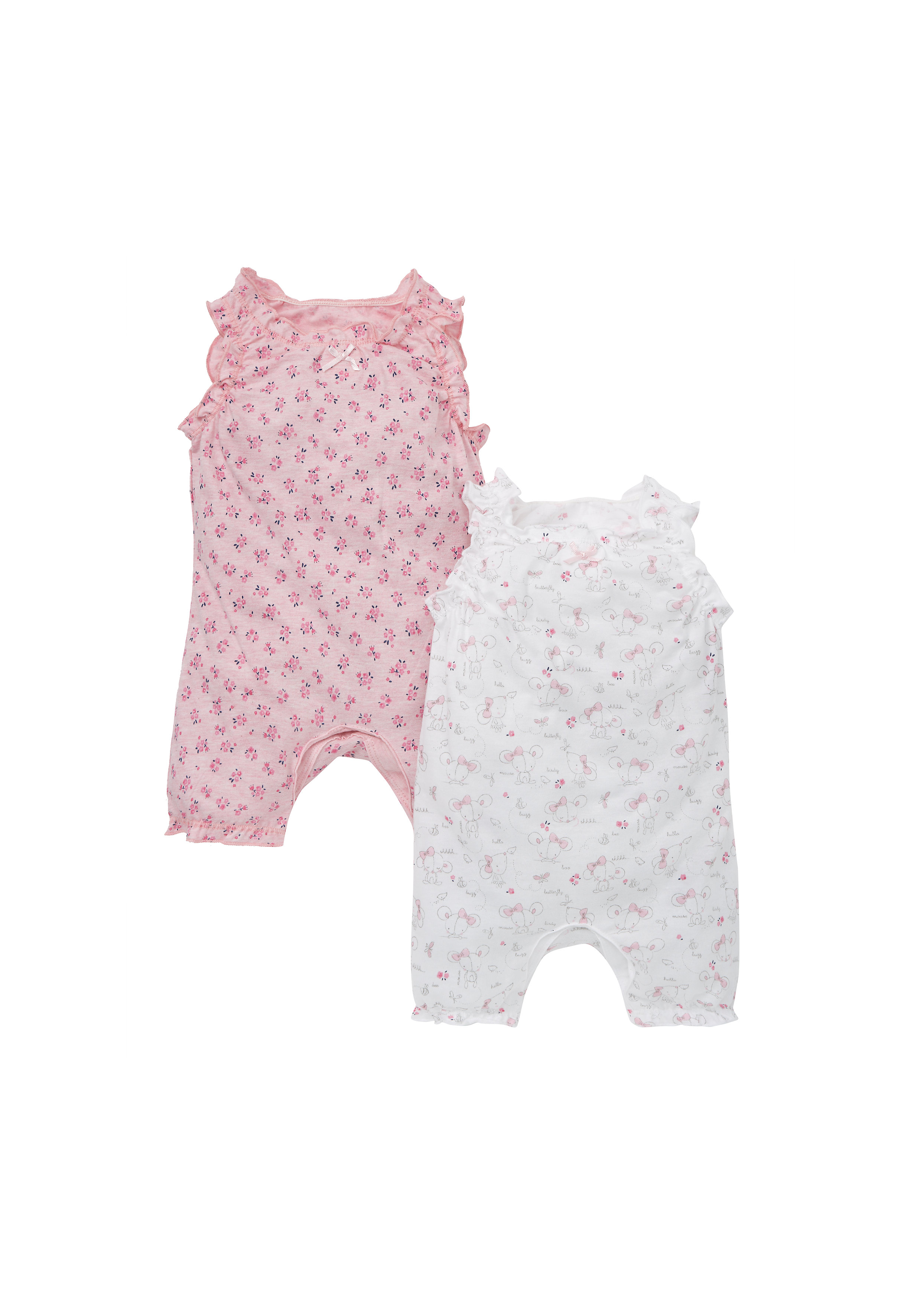 Mothercare | Girls Sleeveless Romper Mouse And Floral Print - Pack Of 2 - Pink