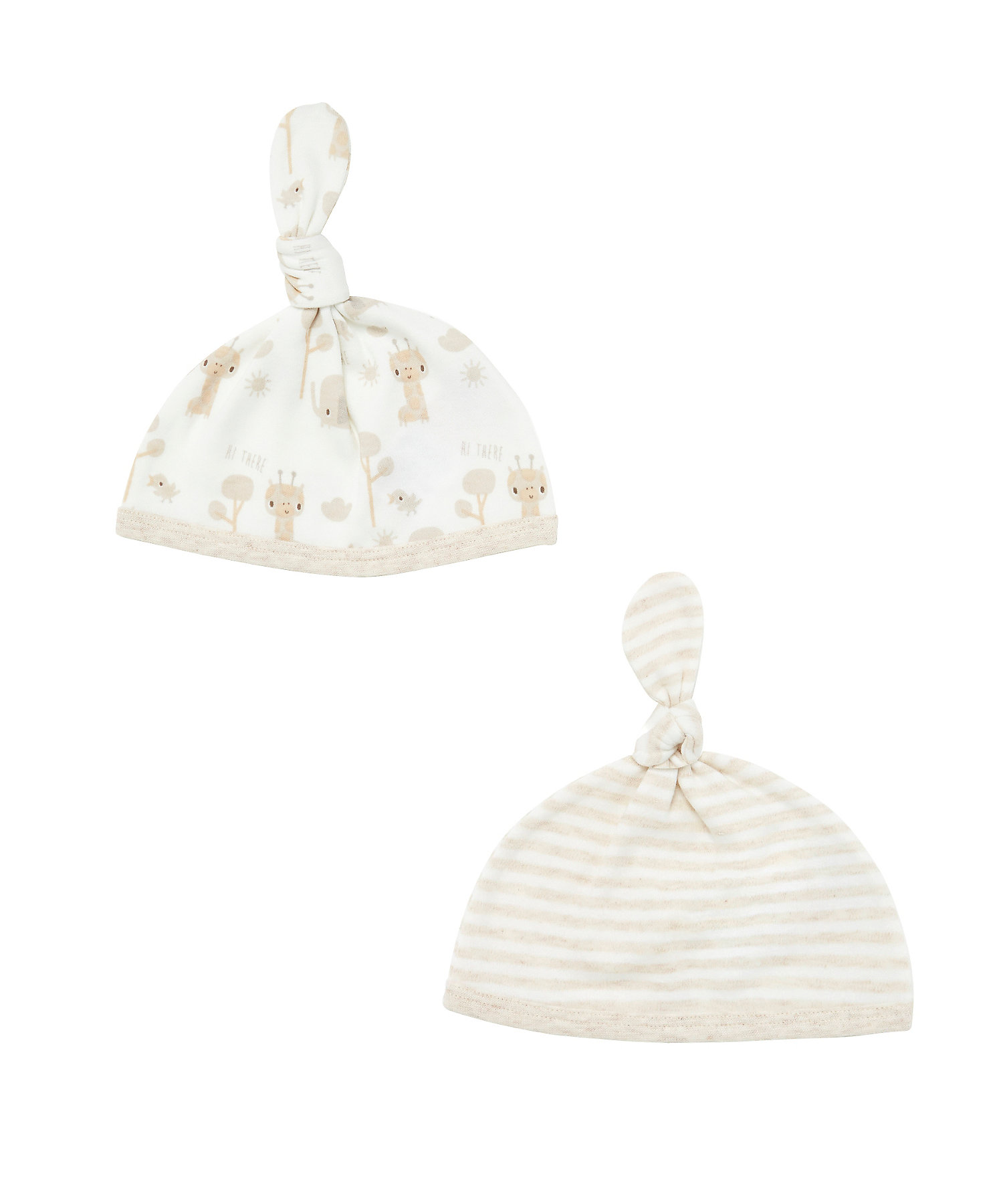 Mothercare | Unisex Top Knot Hat Striped And Printed - Beige