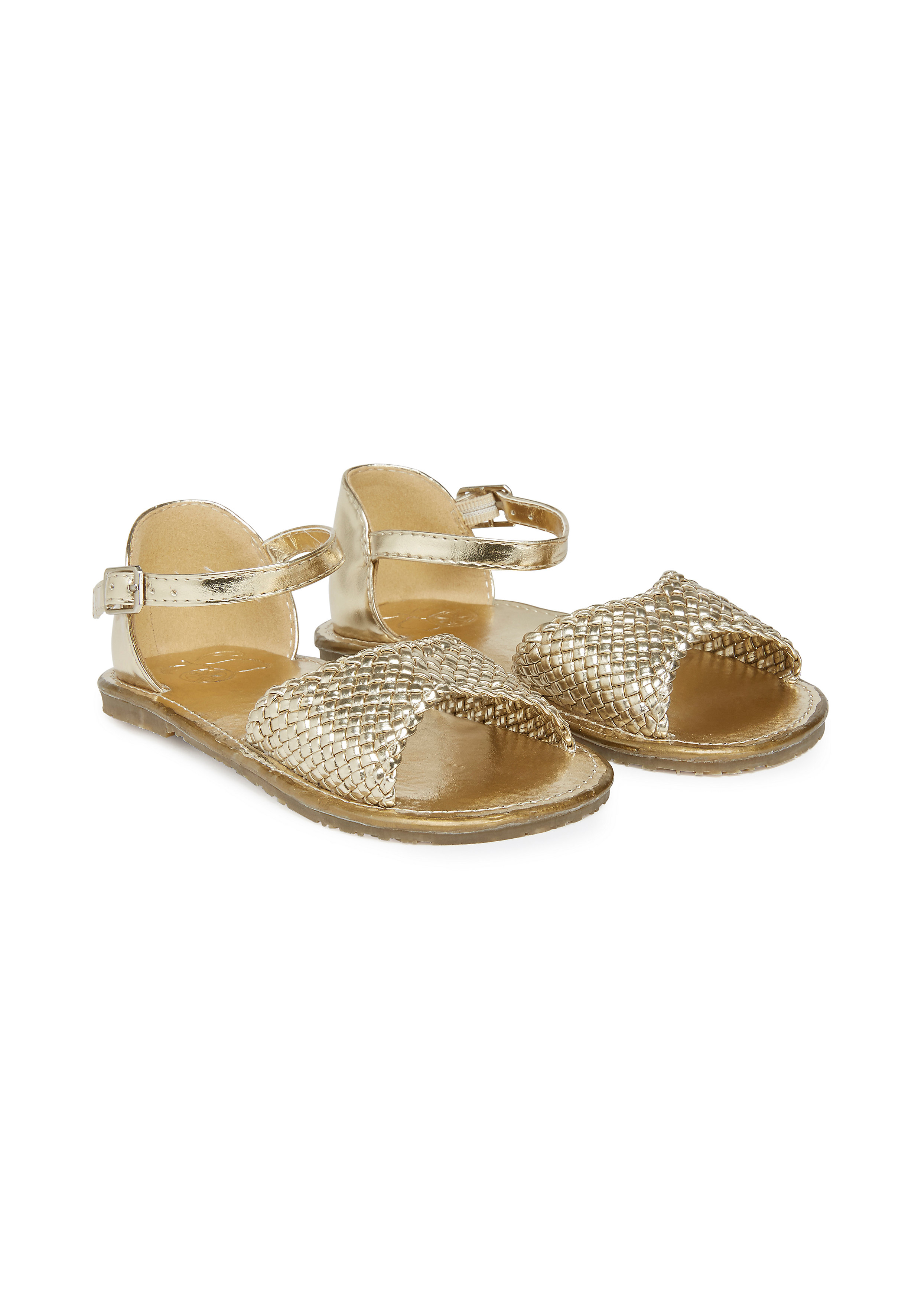 Mothercare | Girls Metallic Woven Sandals - Gold