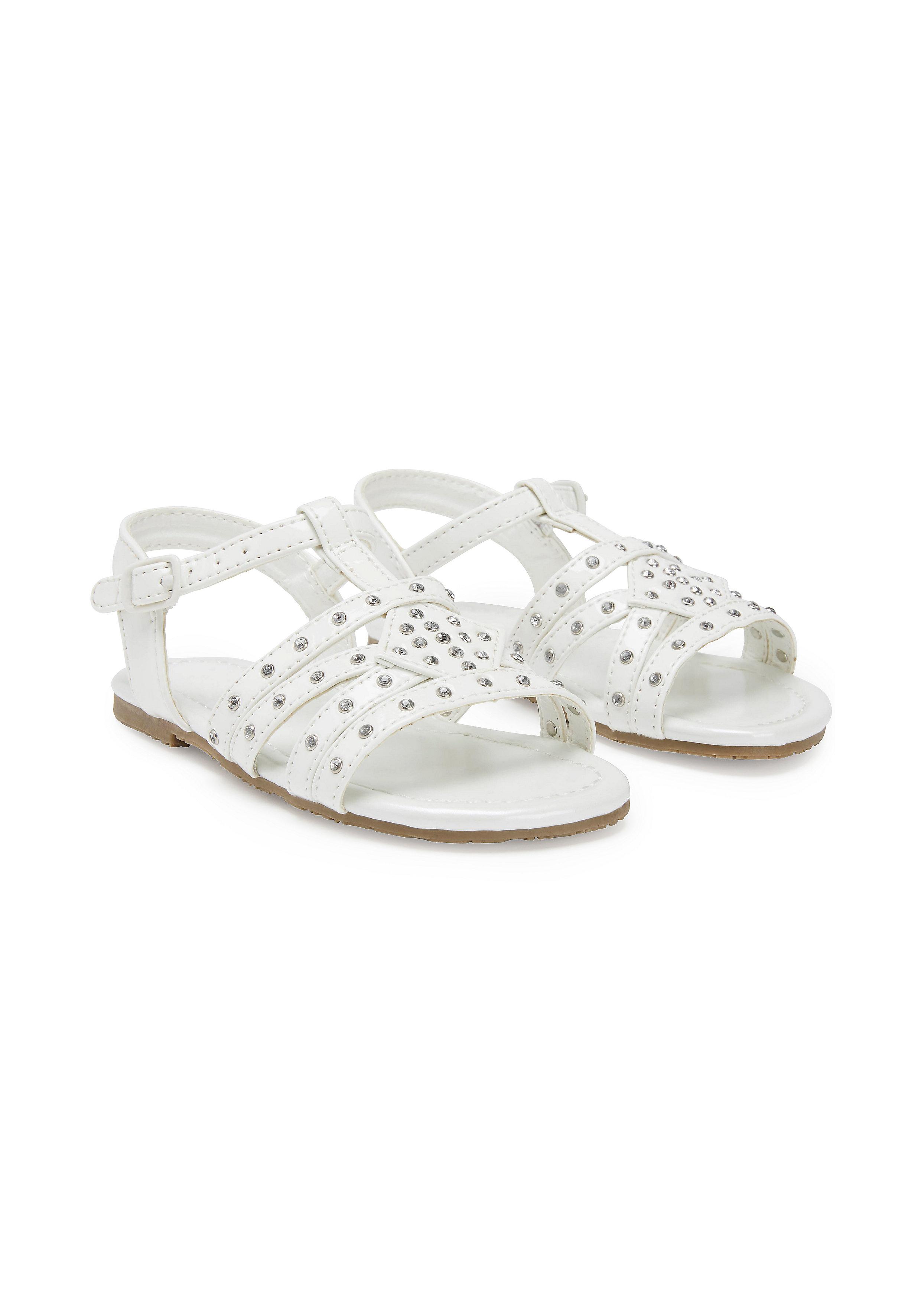 Mothercare   Girls T-Bar Sandals - White
