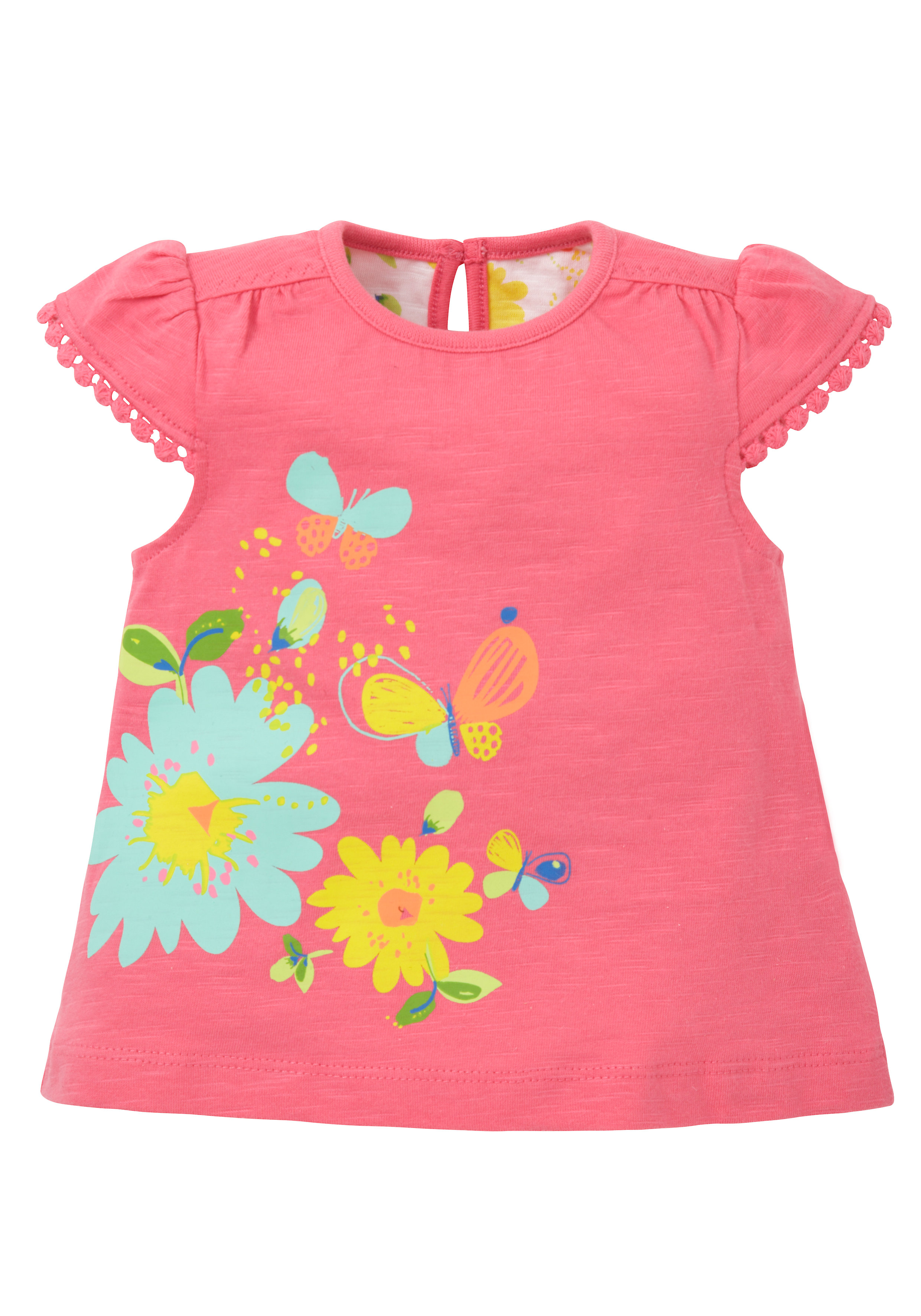 Mothercare | Girls Bright Floral Jersey T-Shirt - Pink