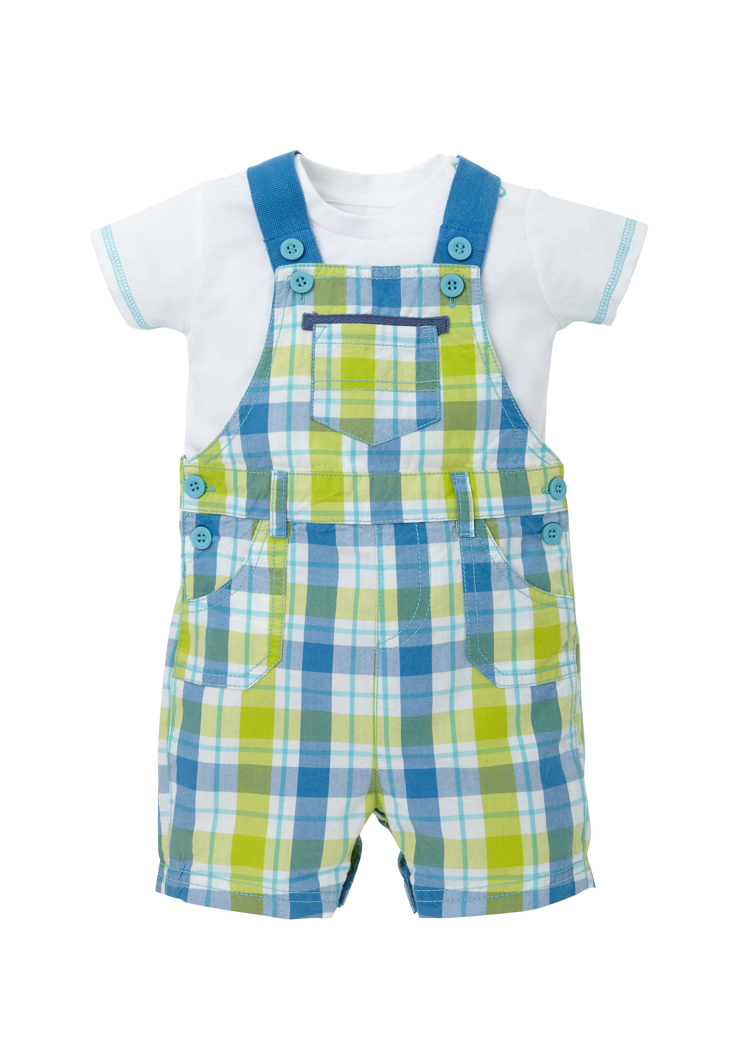 Mothercare | Boys Half Sleeves Dungaree Set Checks - Blue