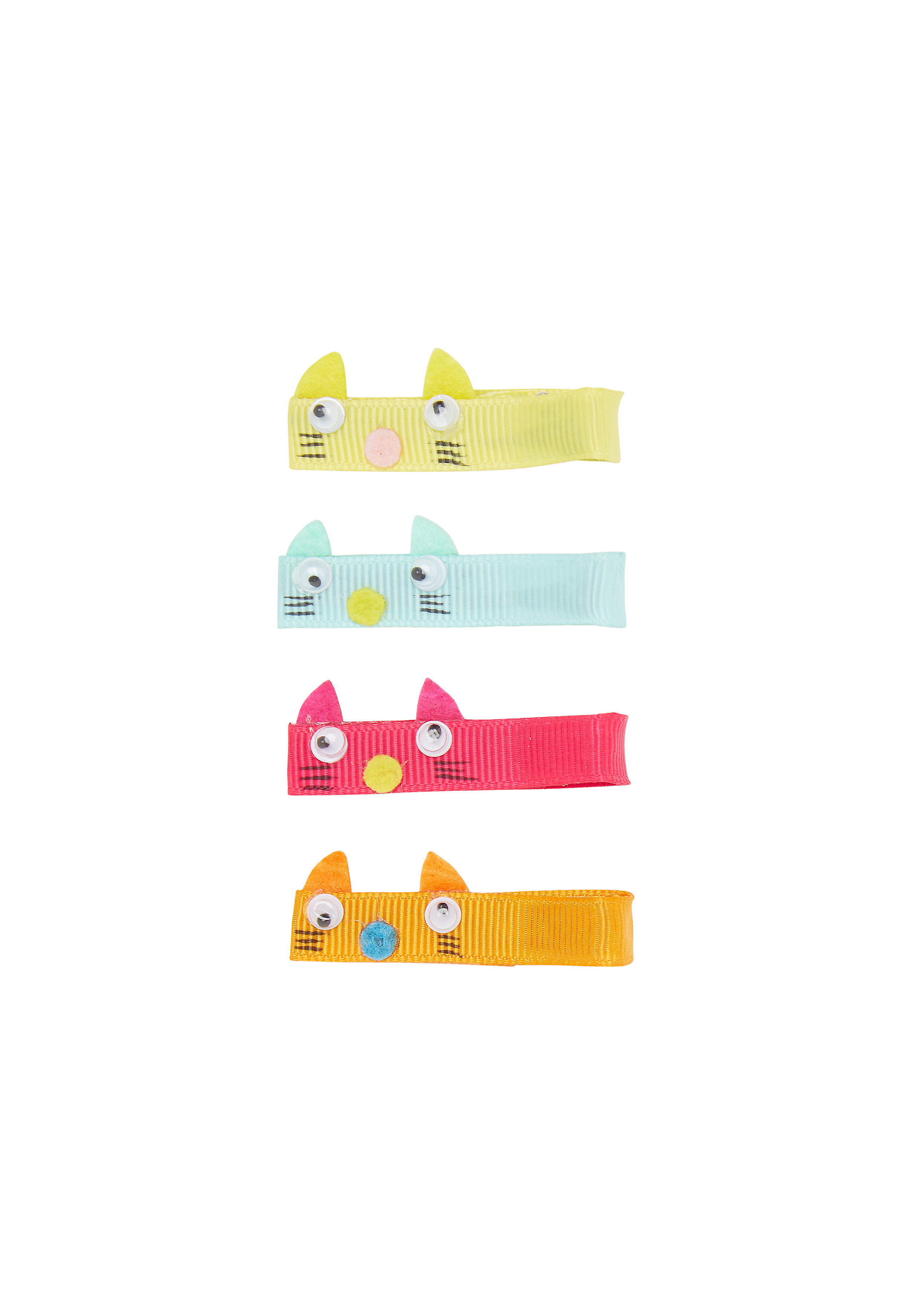 Mothercare | Girls Hair Clip Cat Design - Pack Of 4 - Multicolor