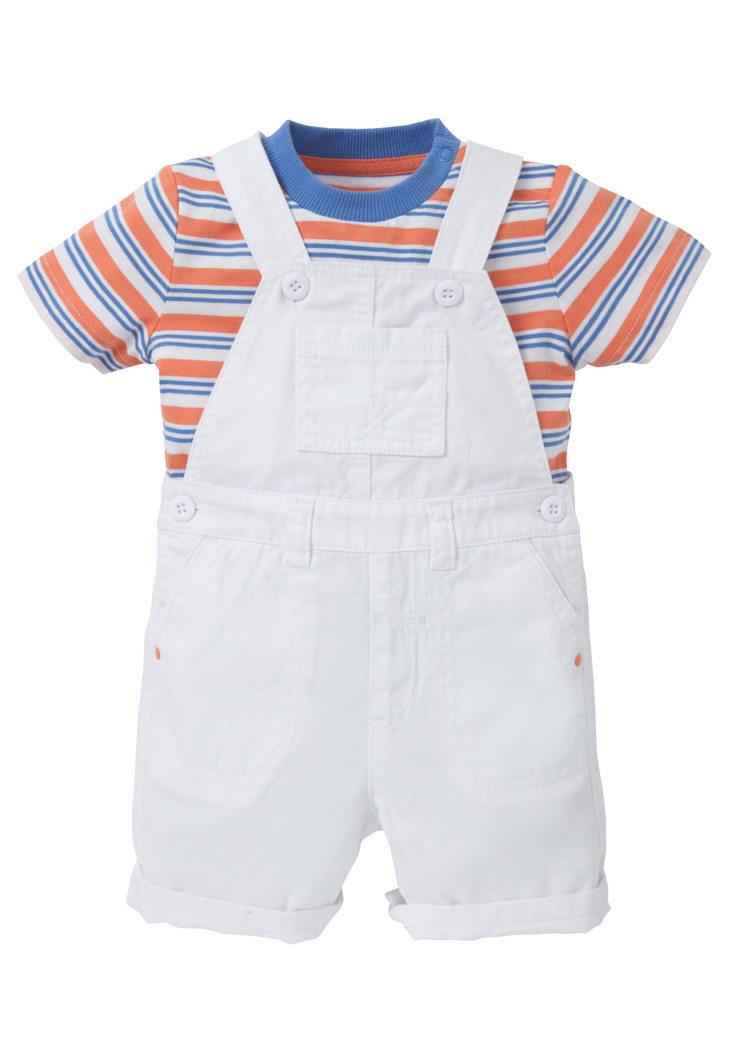 Mothercare | Boys White Bibshorts And Striped T-Shirt Set